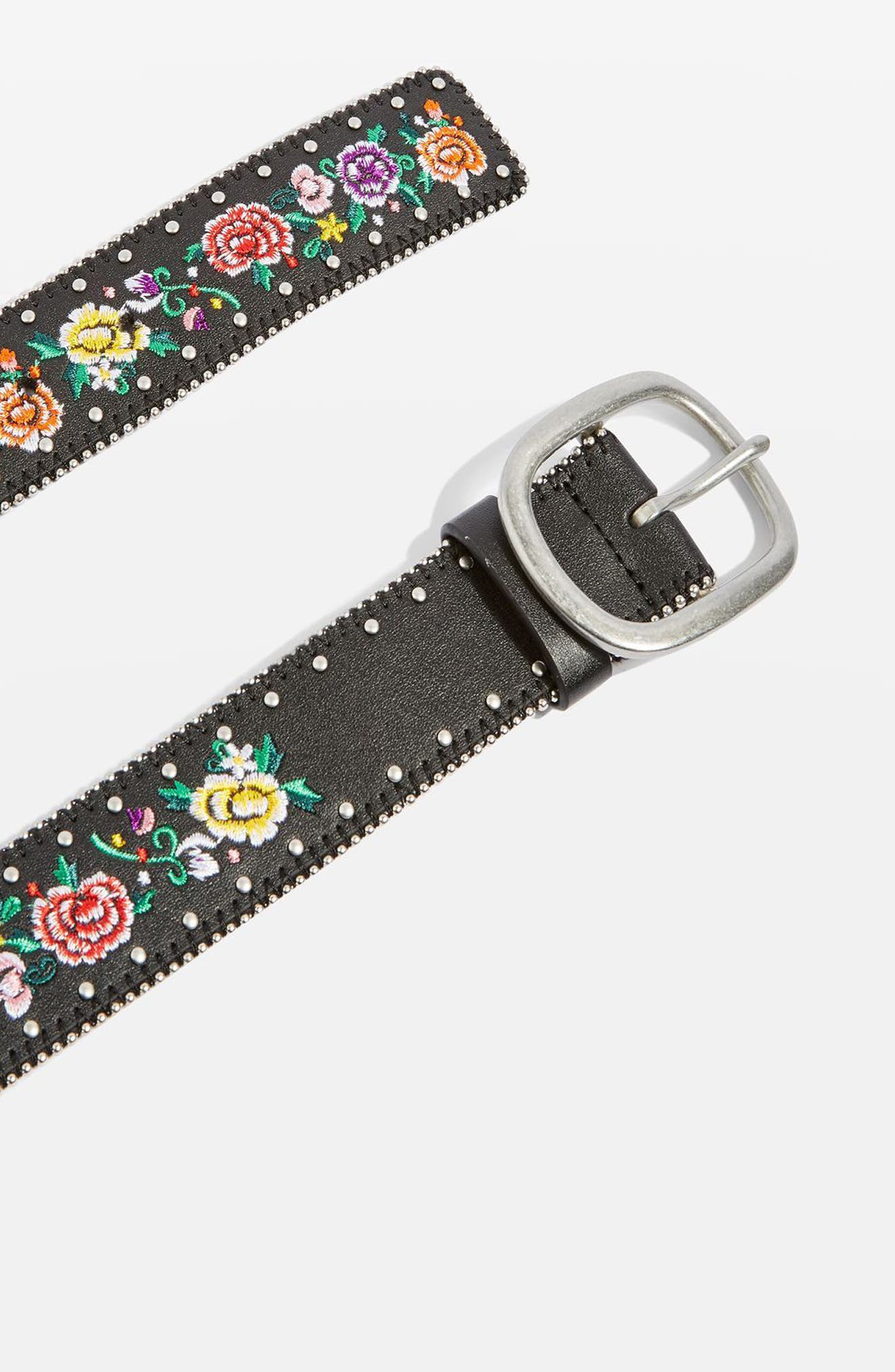 Chain Trim Floral Embroidered Belt,                             Alternate thumbnail 2, color,