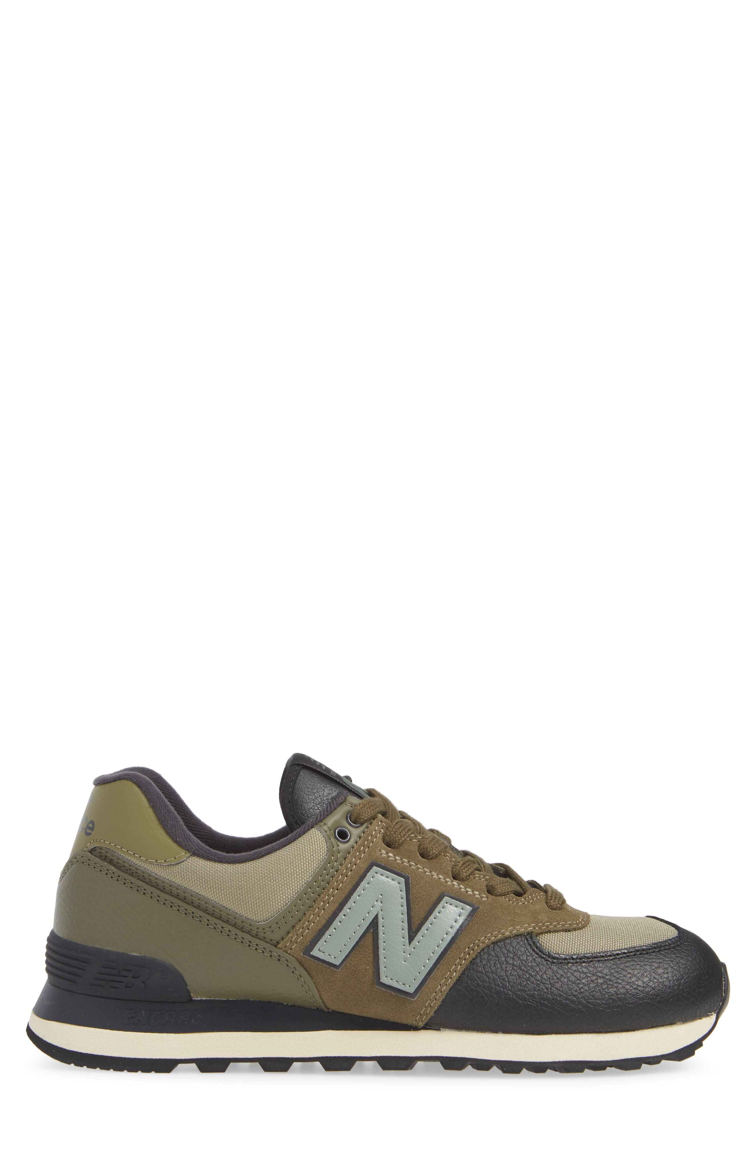 574 Classic Sneaker,                             Alternate thumbnail 3, color,                             COVERT GREEN SUEDE/ TEXTILE