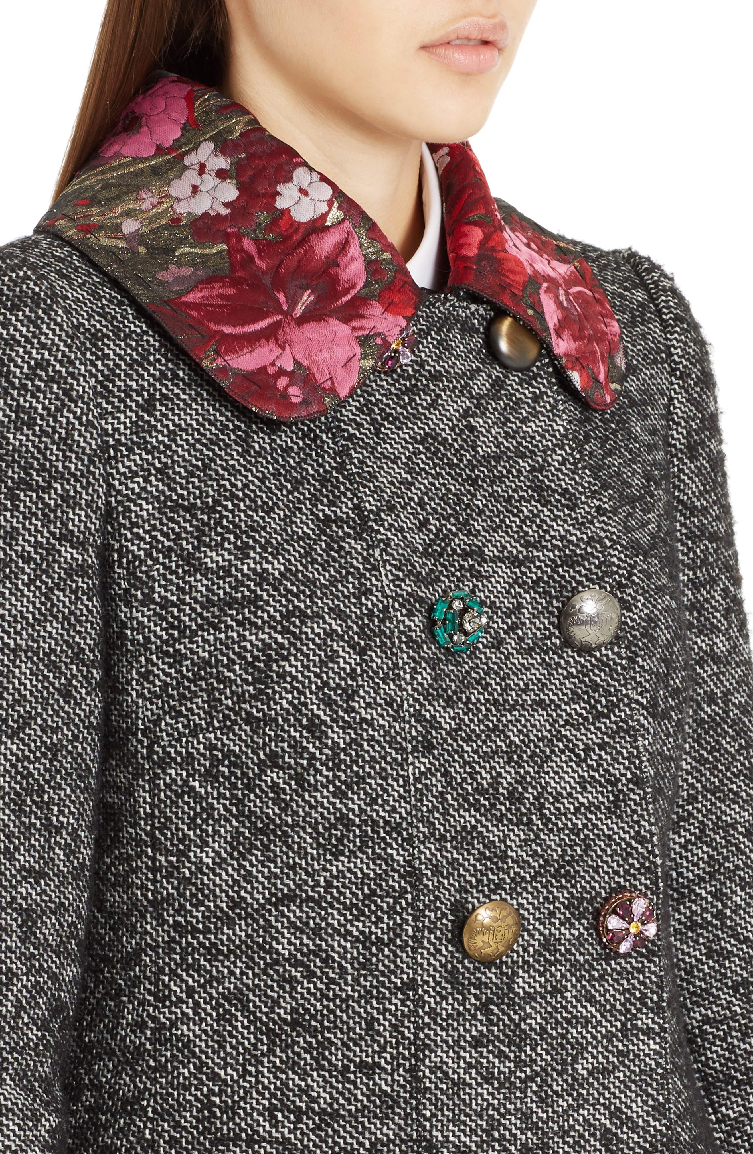 Jacquard Trim Tweed Coat,                             Alternate thumbnail 4, color,                             060