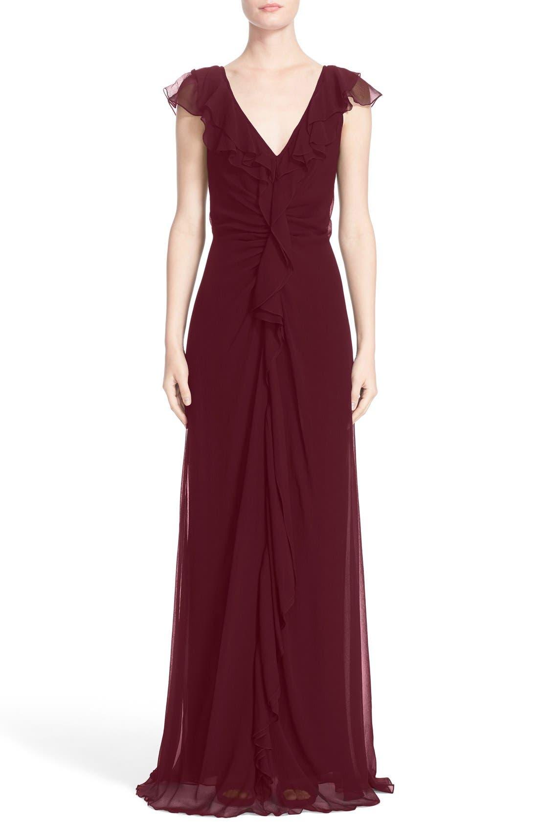 Ruffle Detail Silk Chiffon V-Neck Gown,                             Main thumbnail 2, color,