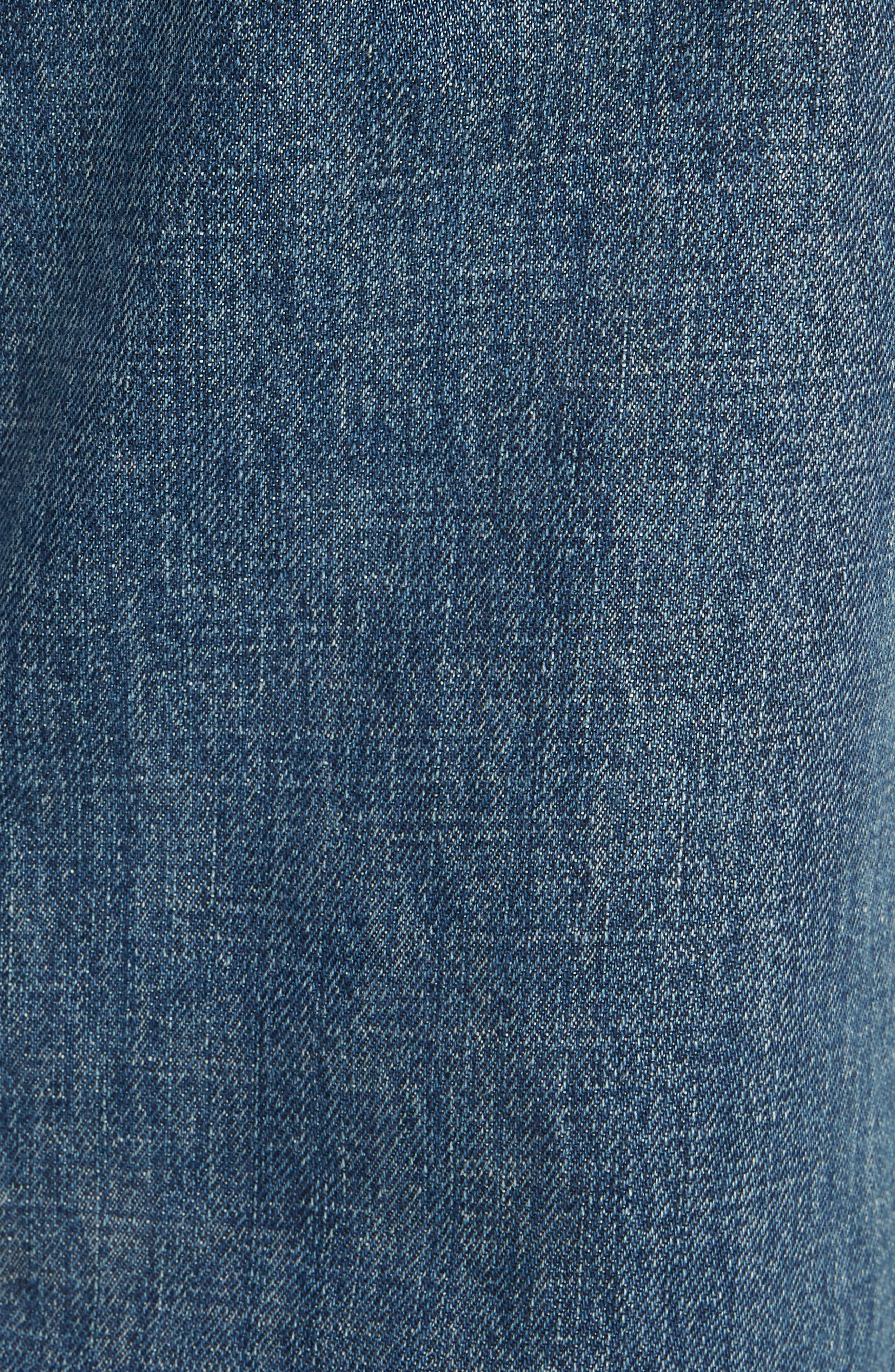 Shaded Pocket Wide Leg Ankle Jeans,                             Alternate thumbnail 5, color,                             MID BLUE
