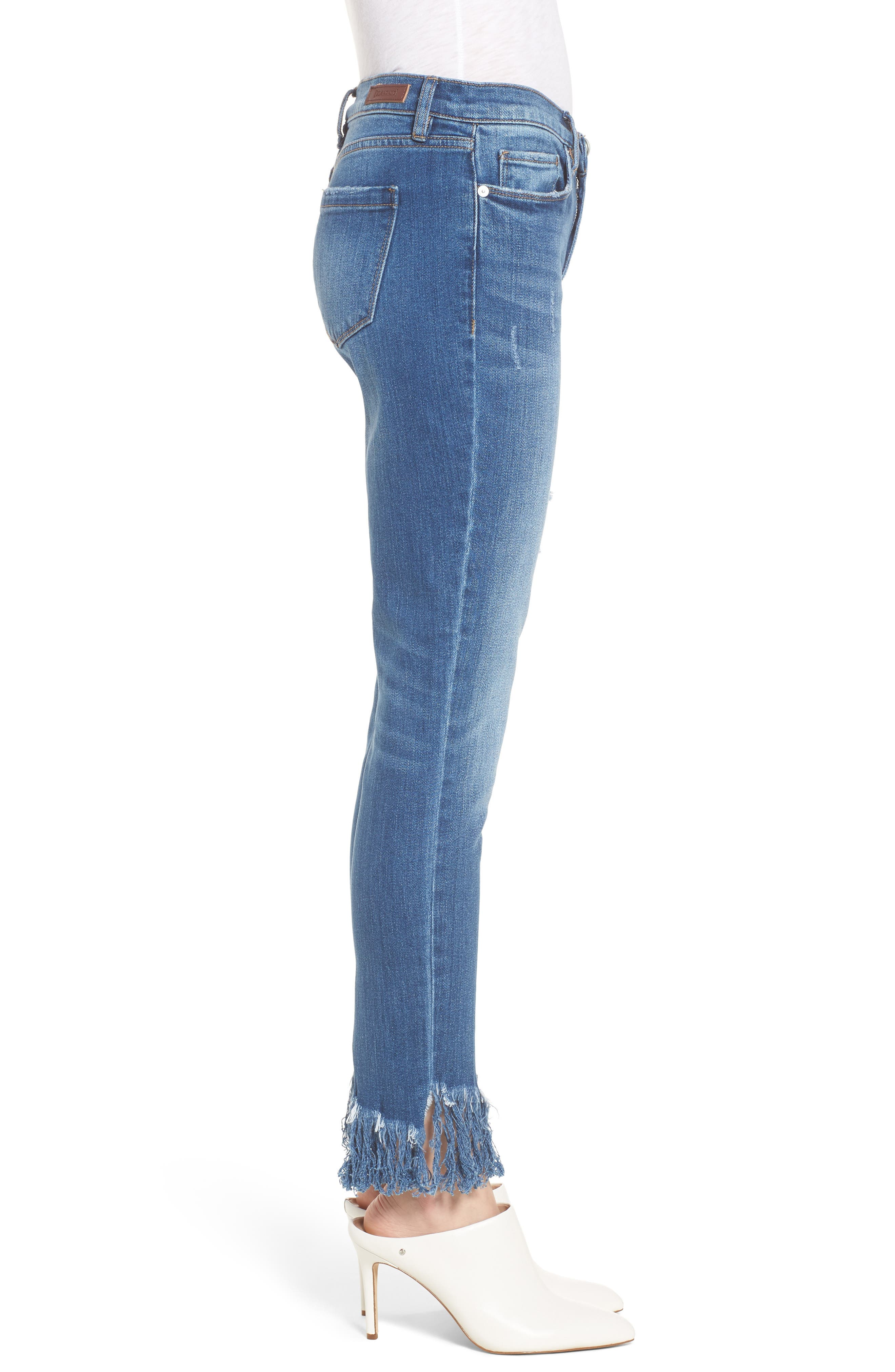 Low Key Judging Fray Hem Skinny Jeans,                             Alternate thumbnail 3, color,                             400