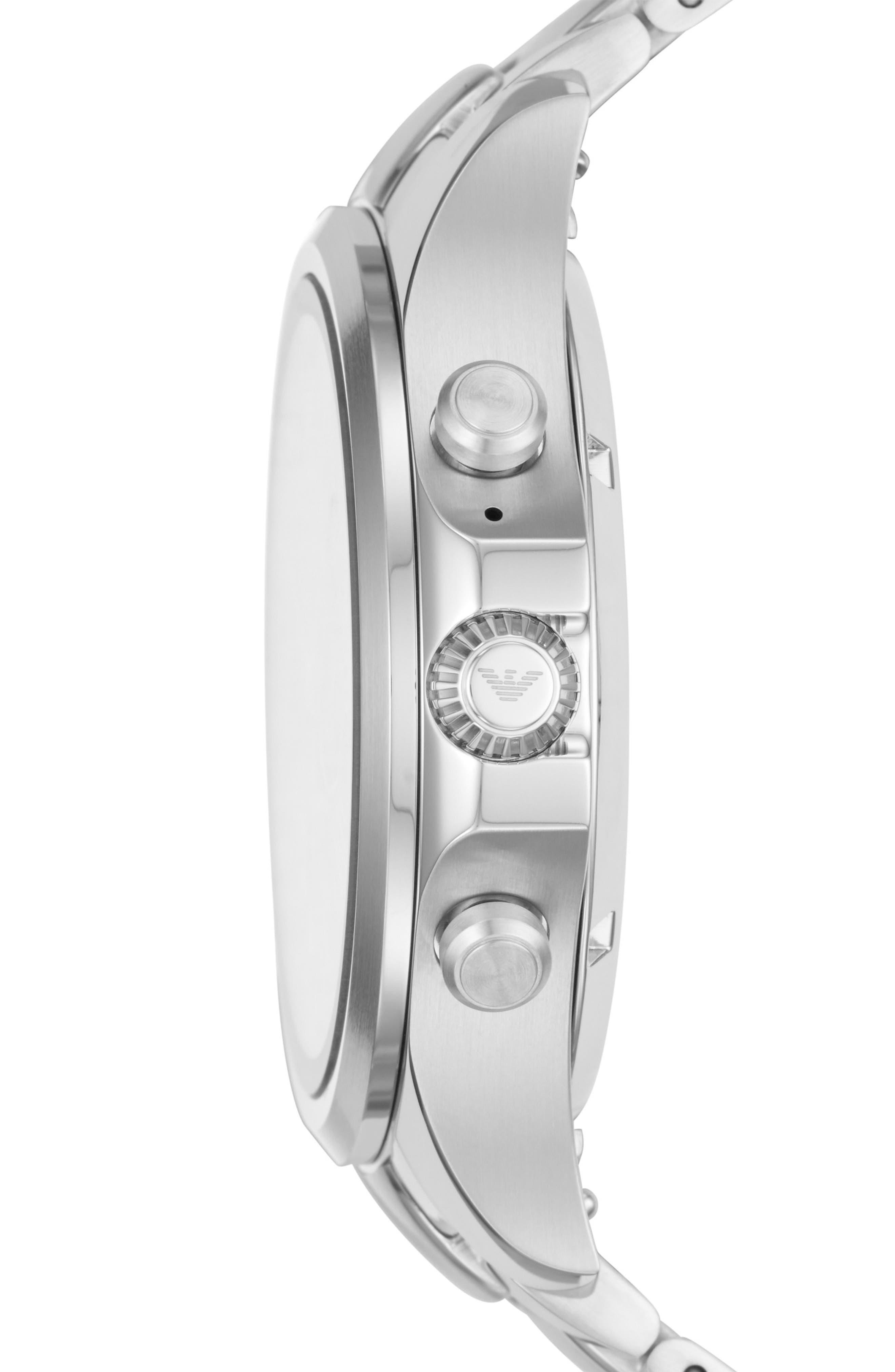 Touchscreen Bracelet Smartwatch, 46mm,                             Alternate thumbnail 3, color,                             BLACK/ SILVER