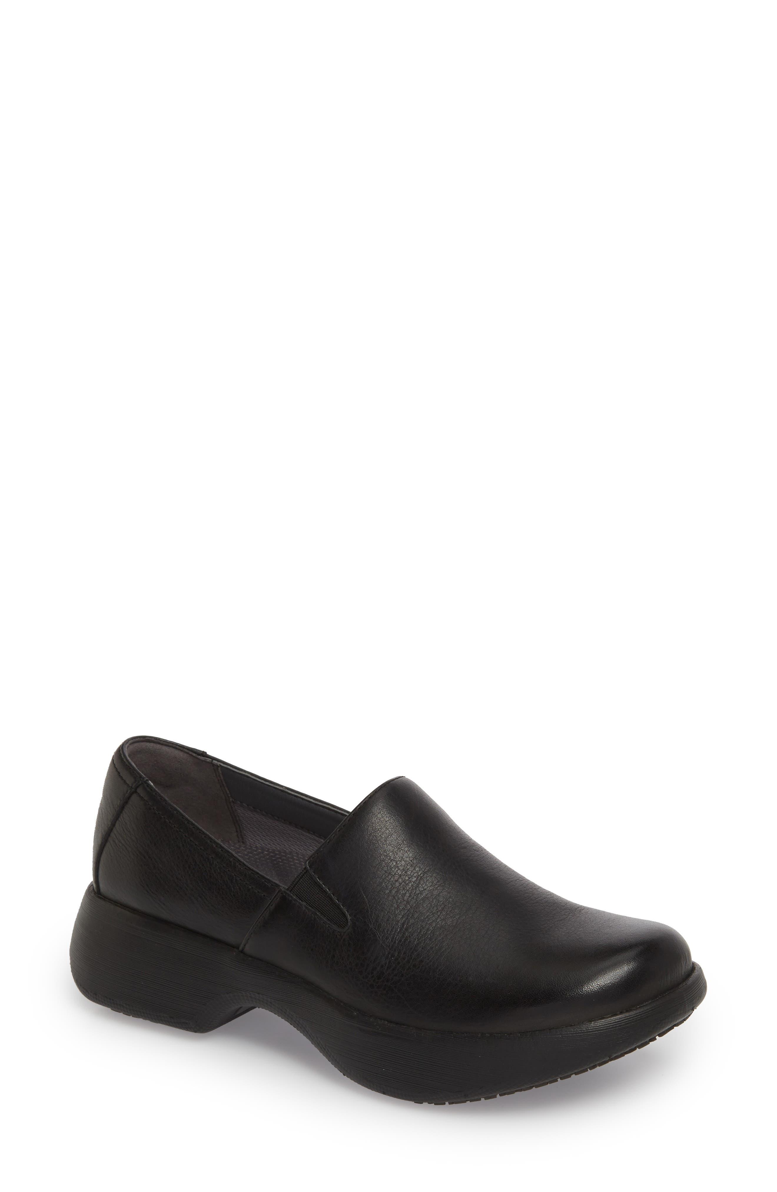 Winona Slip-On Clog,                         Main,                         color, BLACK MILLED LEATHER