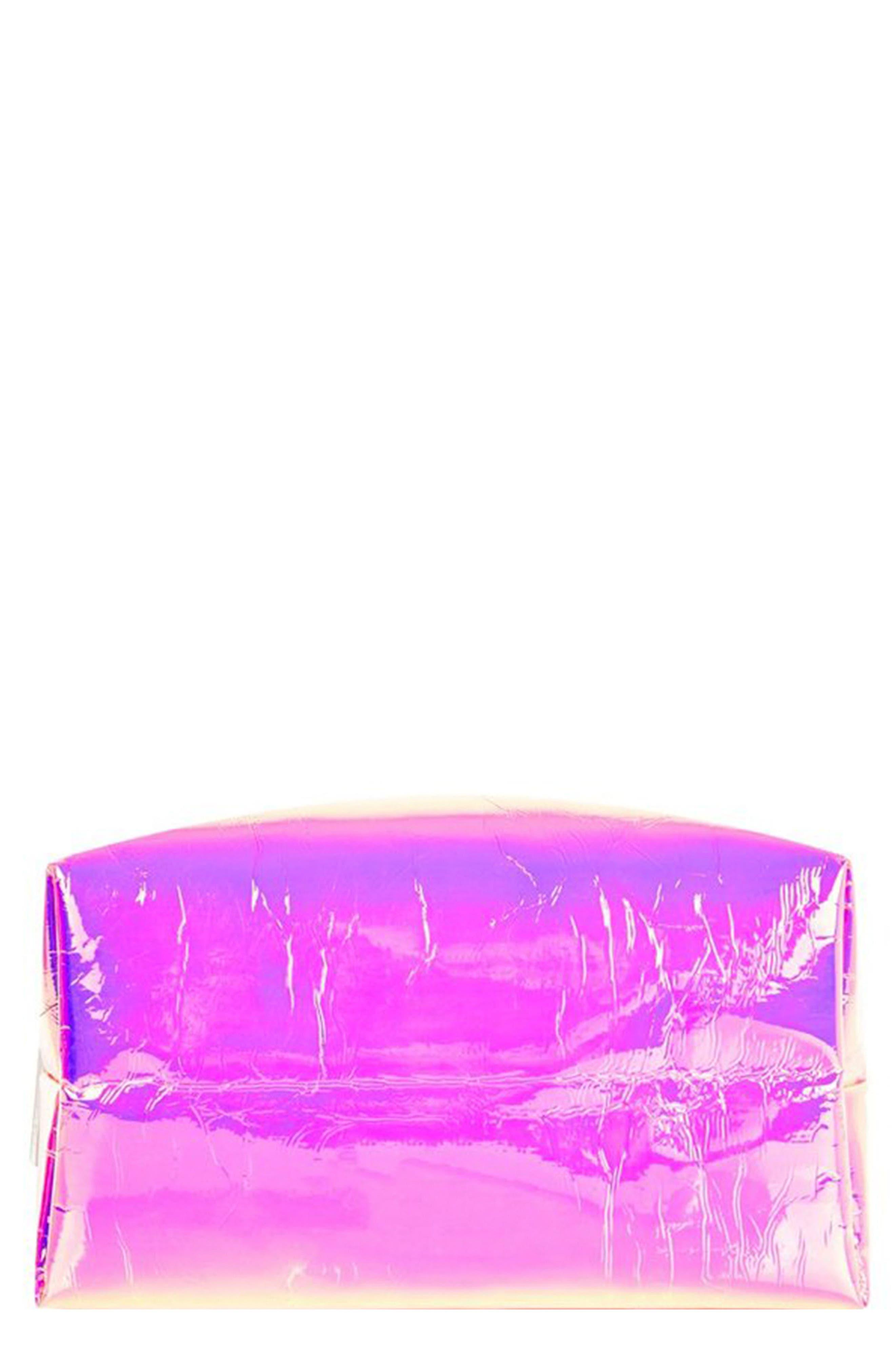 Pink Hologram Makeup Bag,                             Main thumbnail 1, color,                             NO COLOR