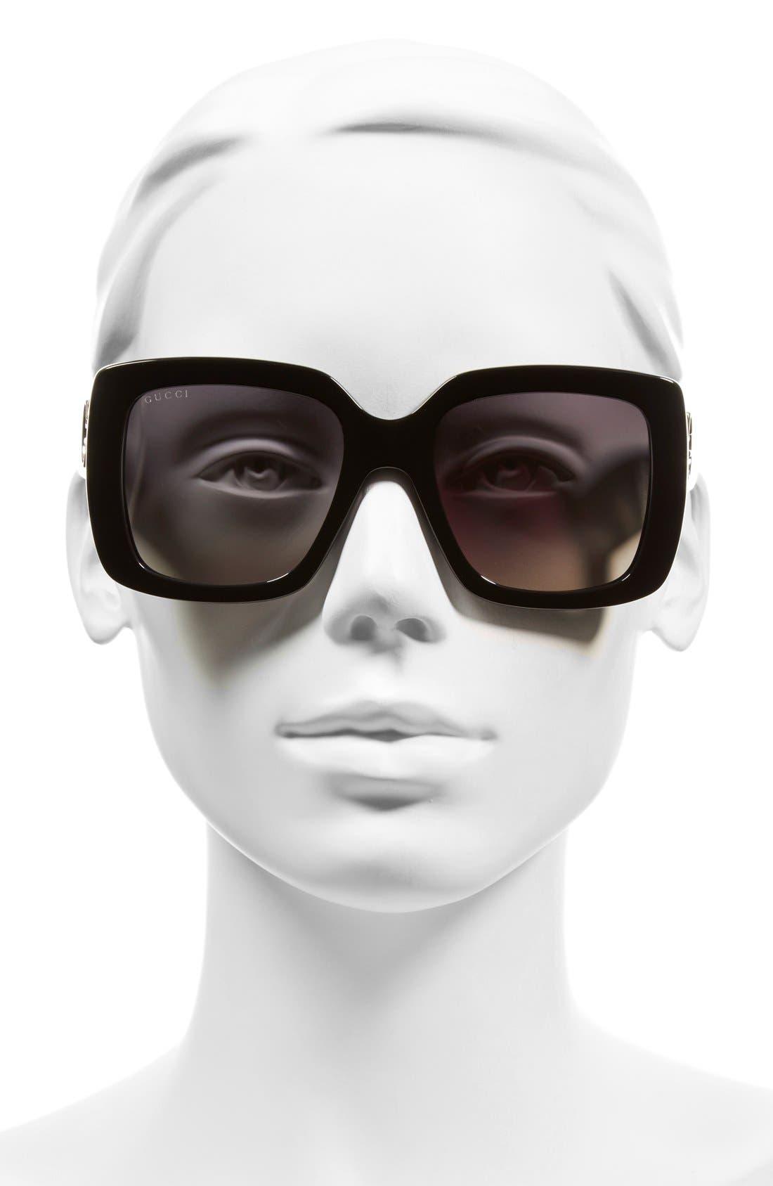 53mm Square Sunglasses,                             Alternate thumbnail 2, color,                             001