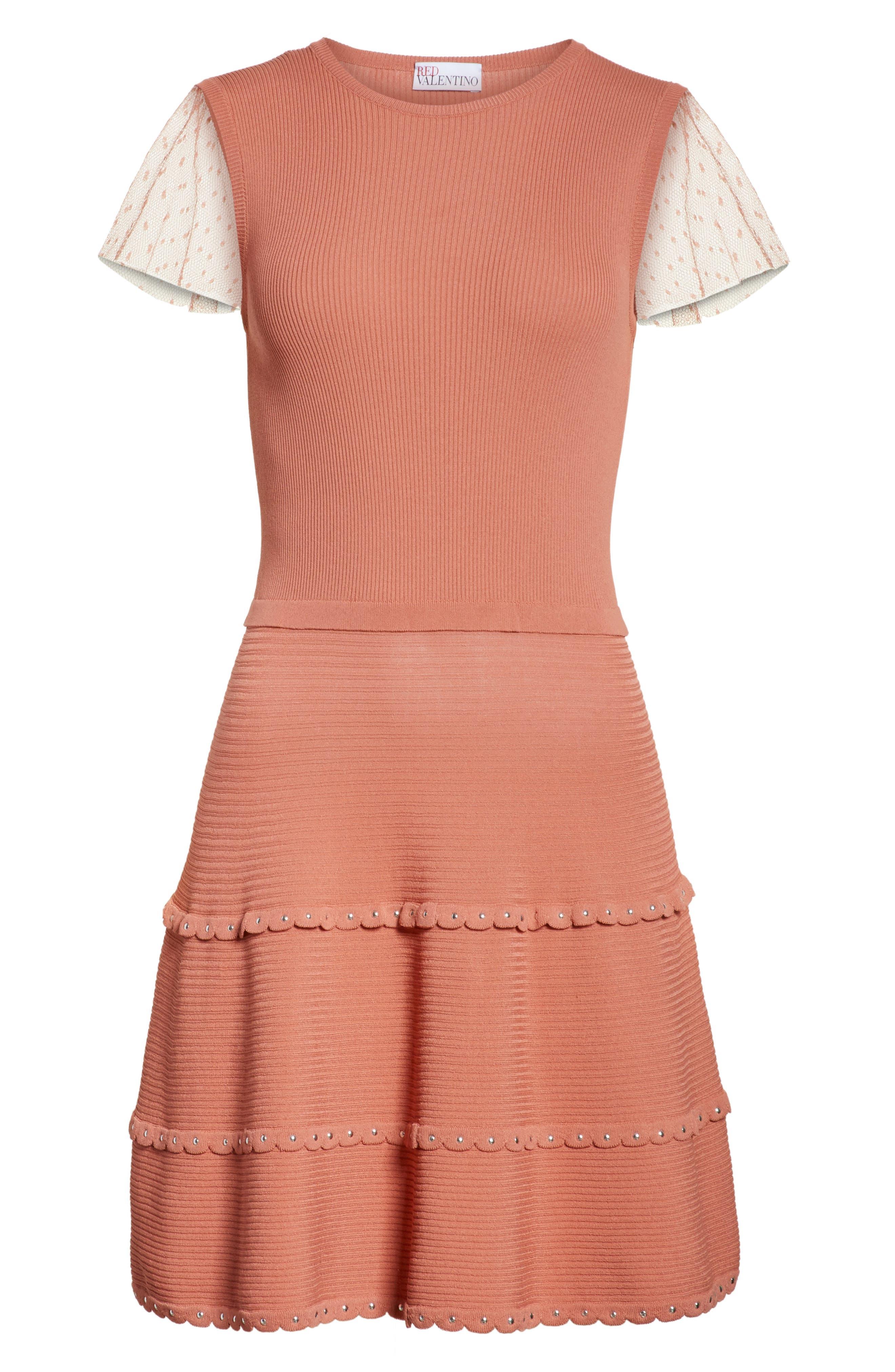 Scallop Stretch Knit Dress,                             Alternate thumbnail 6, color,