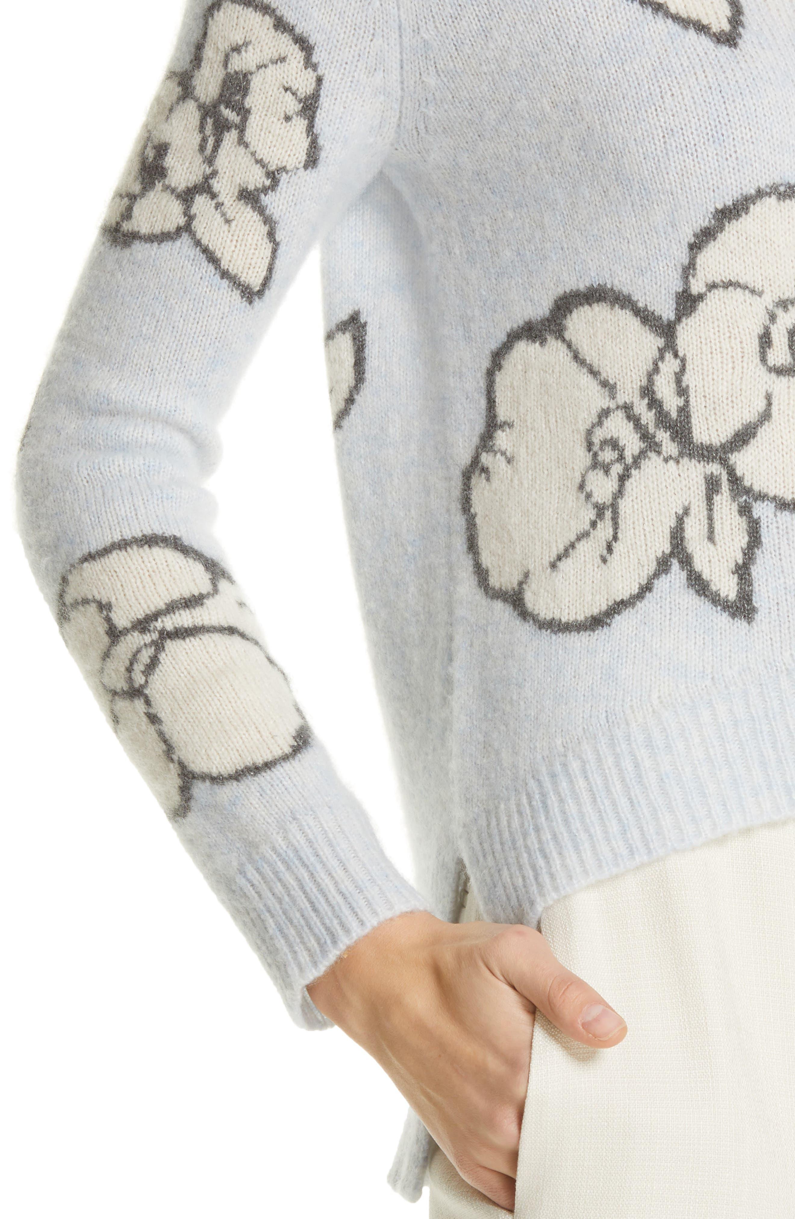 Intarsia Brushed Cashmere & Silk Sweater,                             Alternate thumbnail 4, color,                             ICE BLUE MULTI