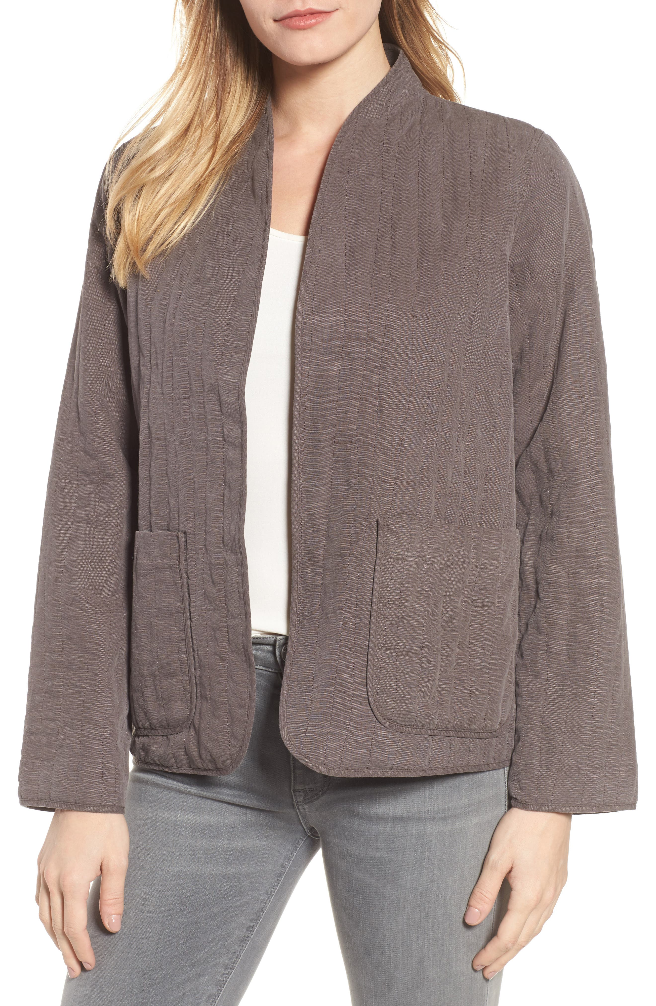 High Collar Quilted Jacket,                             Main thumbnail 1, color,