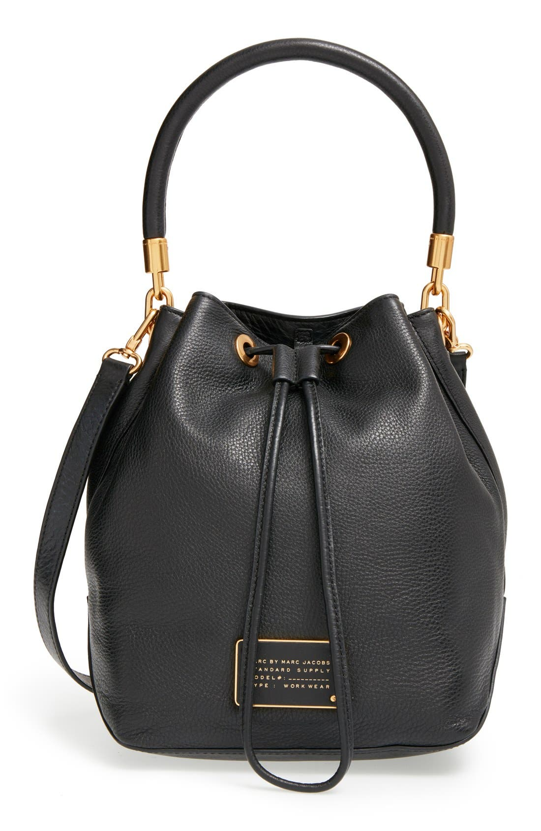 MARC BY MARC JACOBS 'Too Hot to Handle' Drawstring BucketBag, Main, color, 001