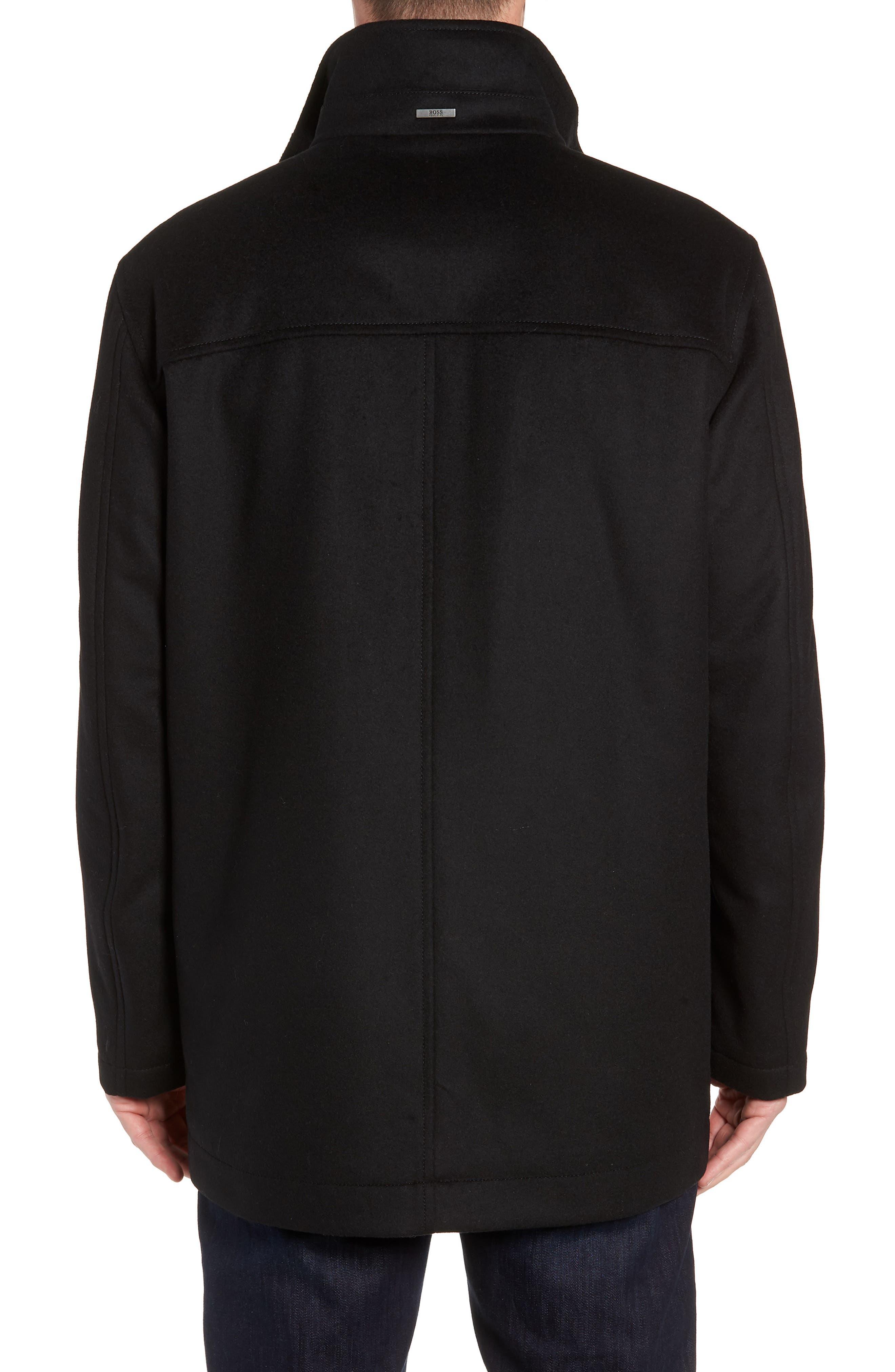 Coxtan Wool Regular Fit Car Coat,                             Alternate thumbnail 2, color,                             BLACK