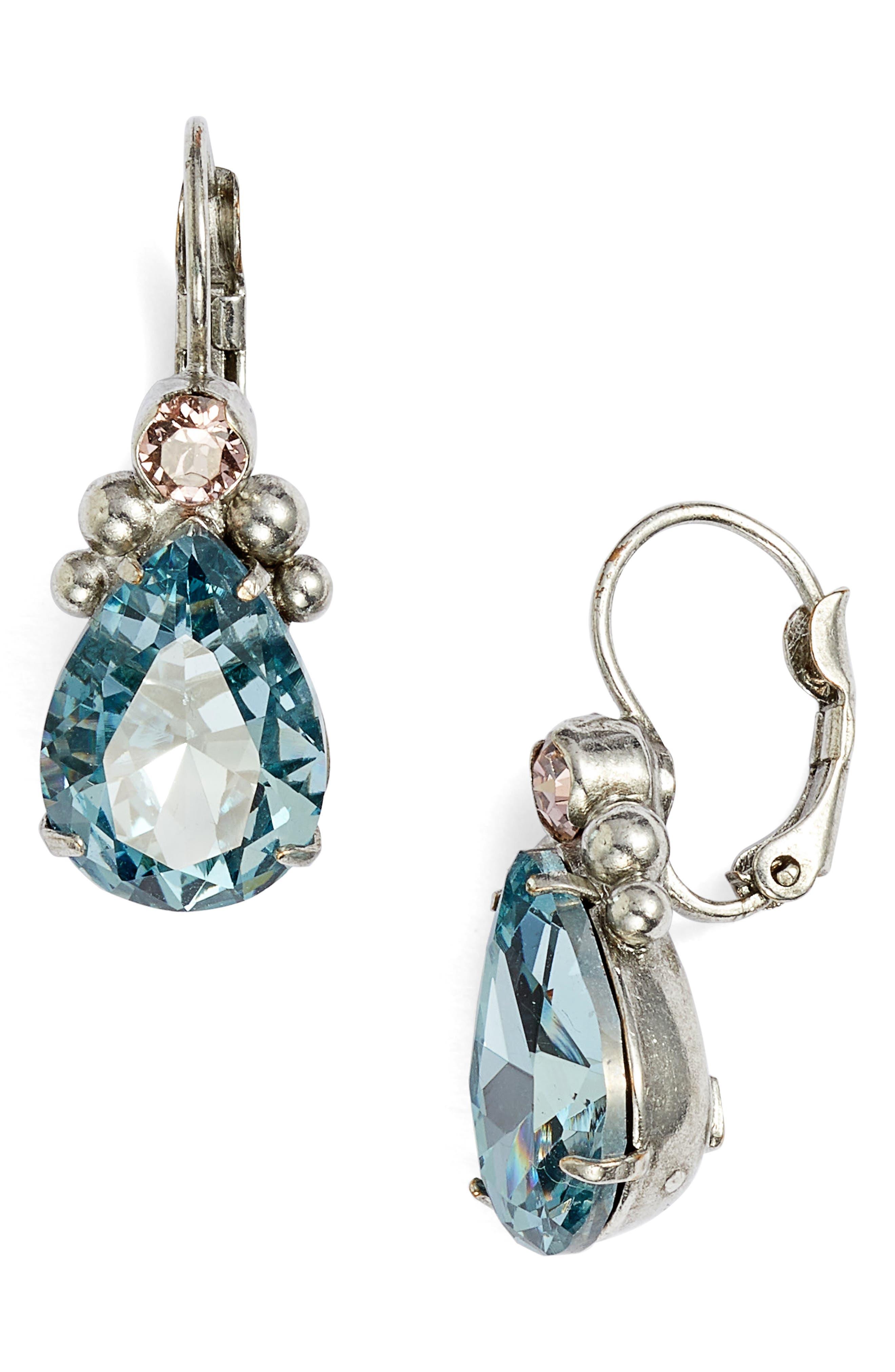 Embellished Pear Crystal Drop Earrings,                         Main,                         color, 400