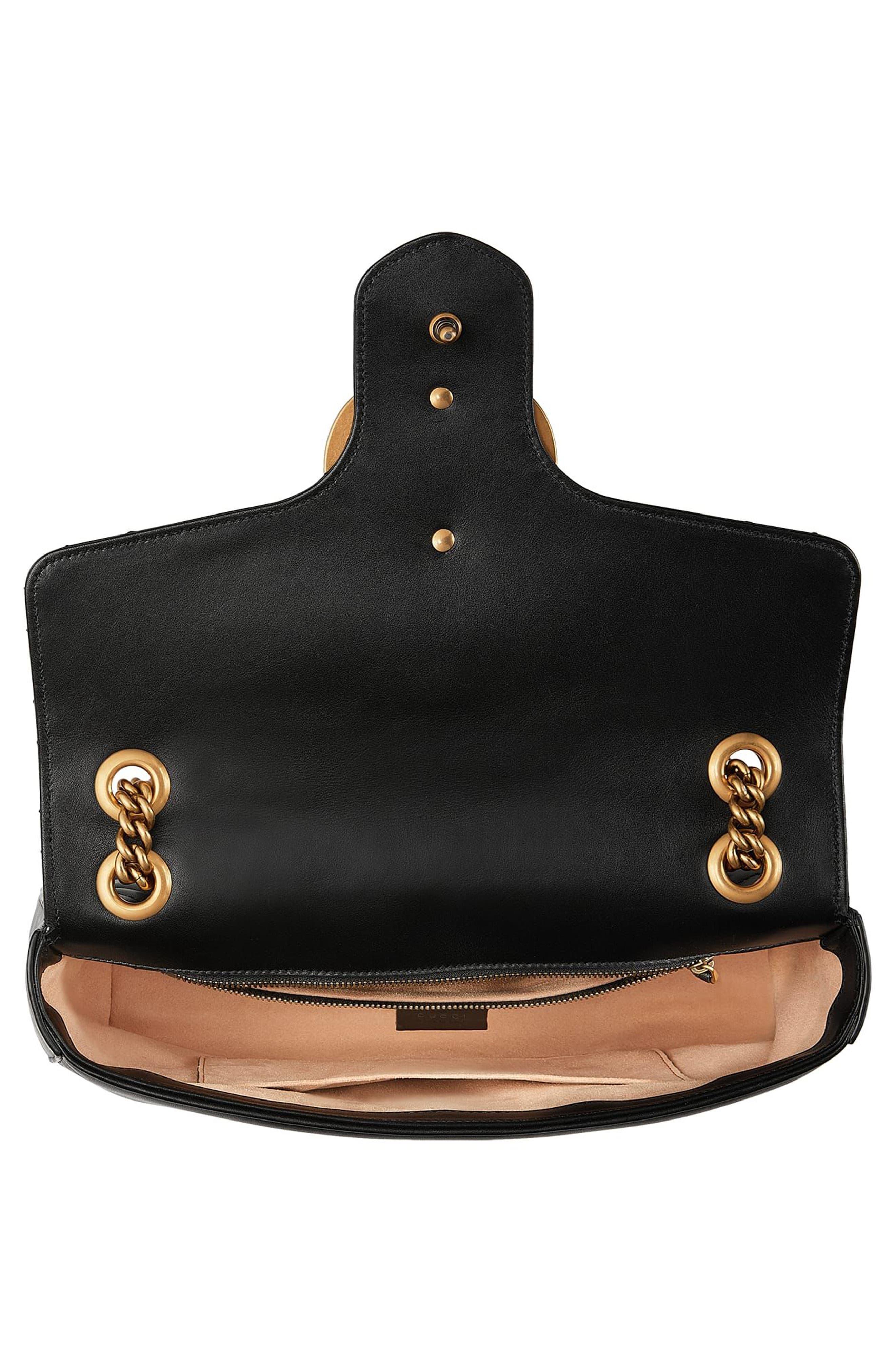 Medium GG Marmont 2.0 Animal Stud Matelassé Leather Shoulder Bag,                             Alternate thumbnail 3, color,                             001