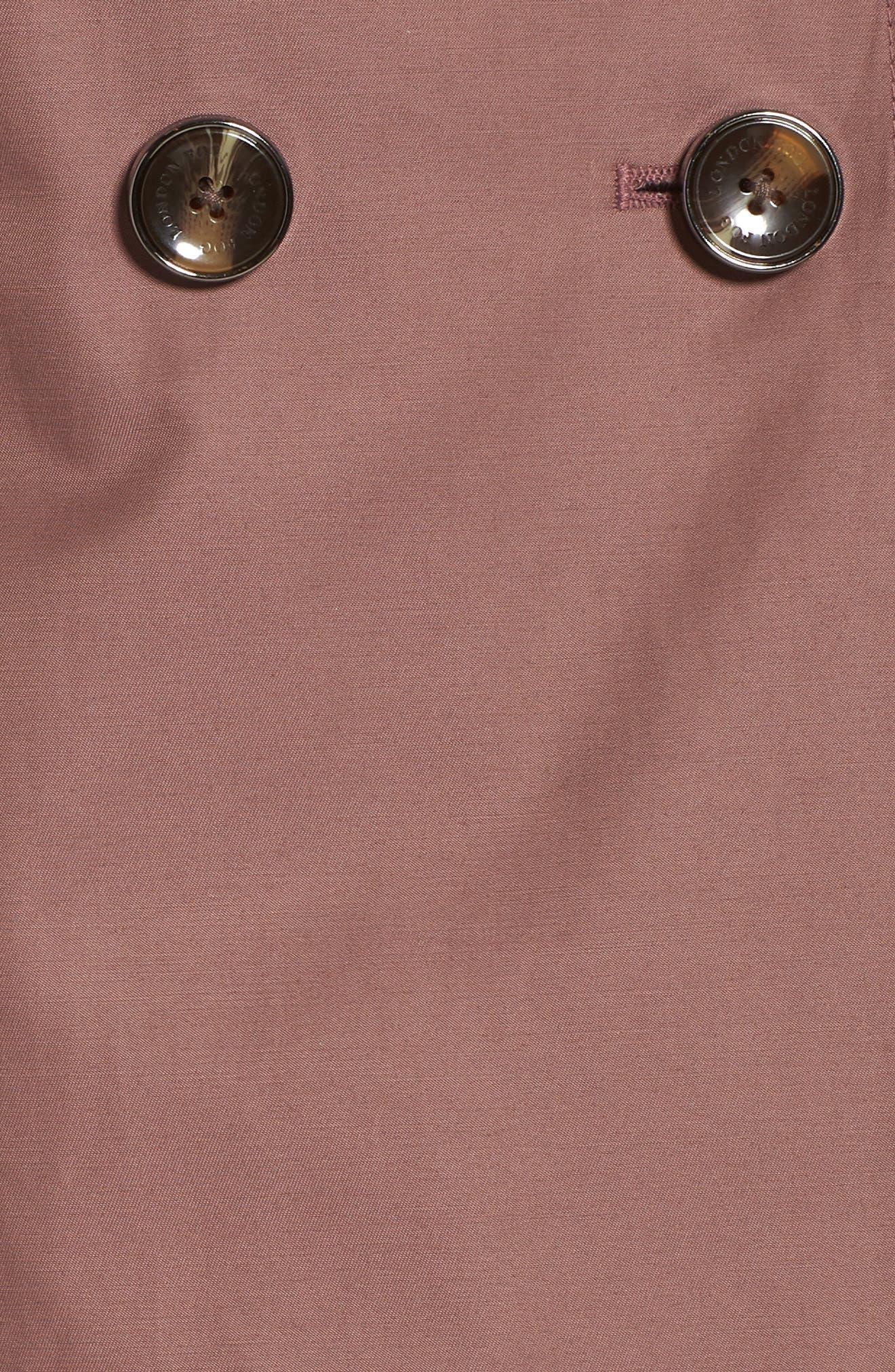 Knee Length Trench Coat,                             Alternate thumbnail 7, color,                             ADOBE