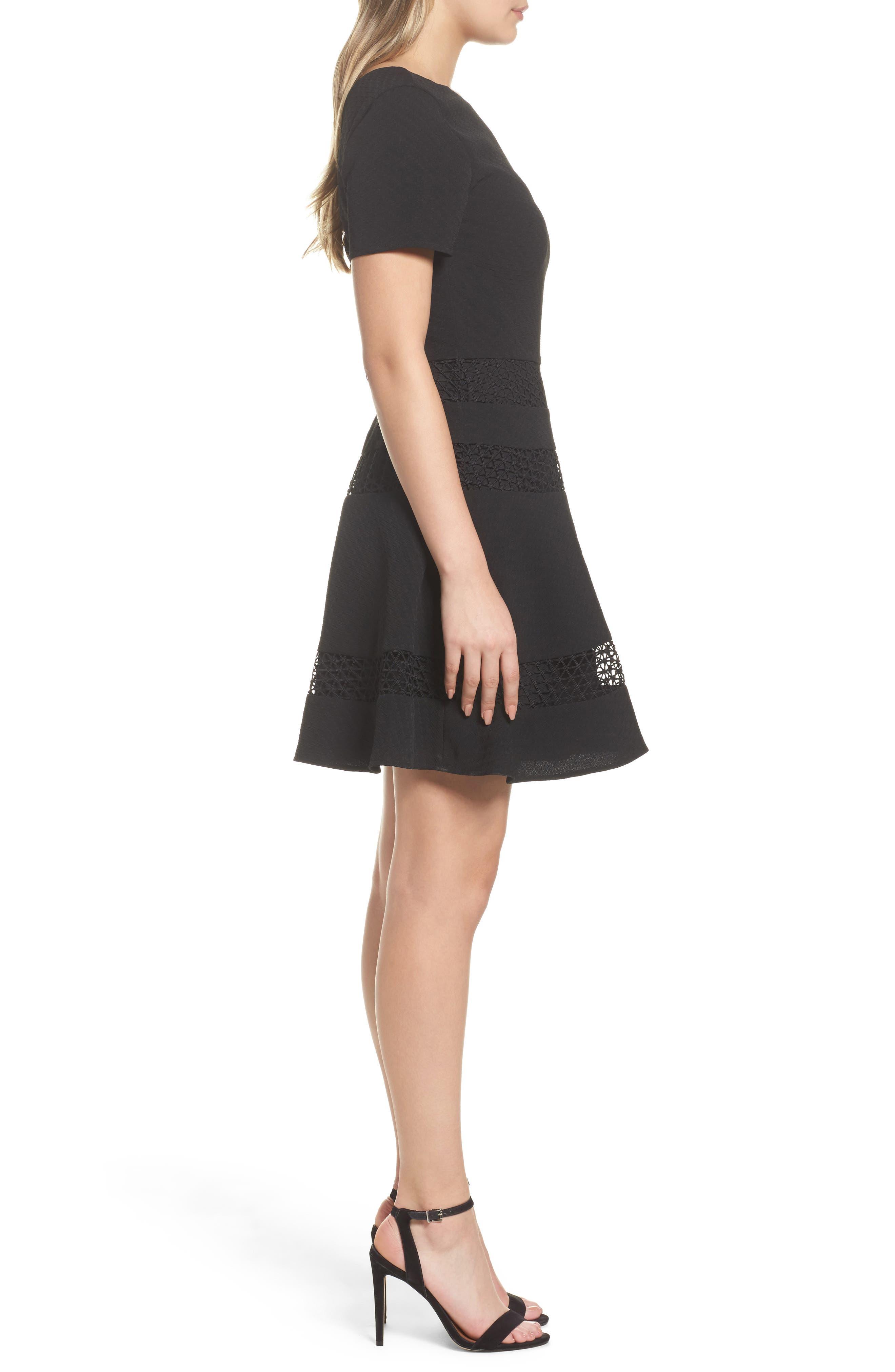 Mixed Media Fit & Flare Dress,                             Alternate thumbnail 3, color,                             BLACK