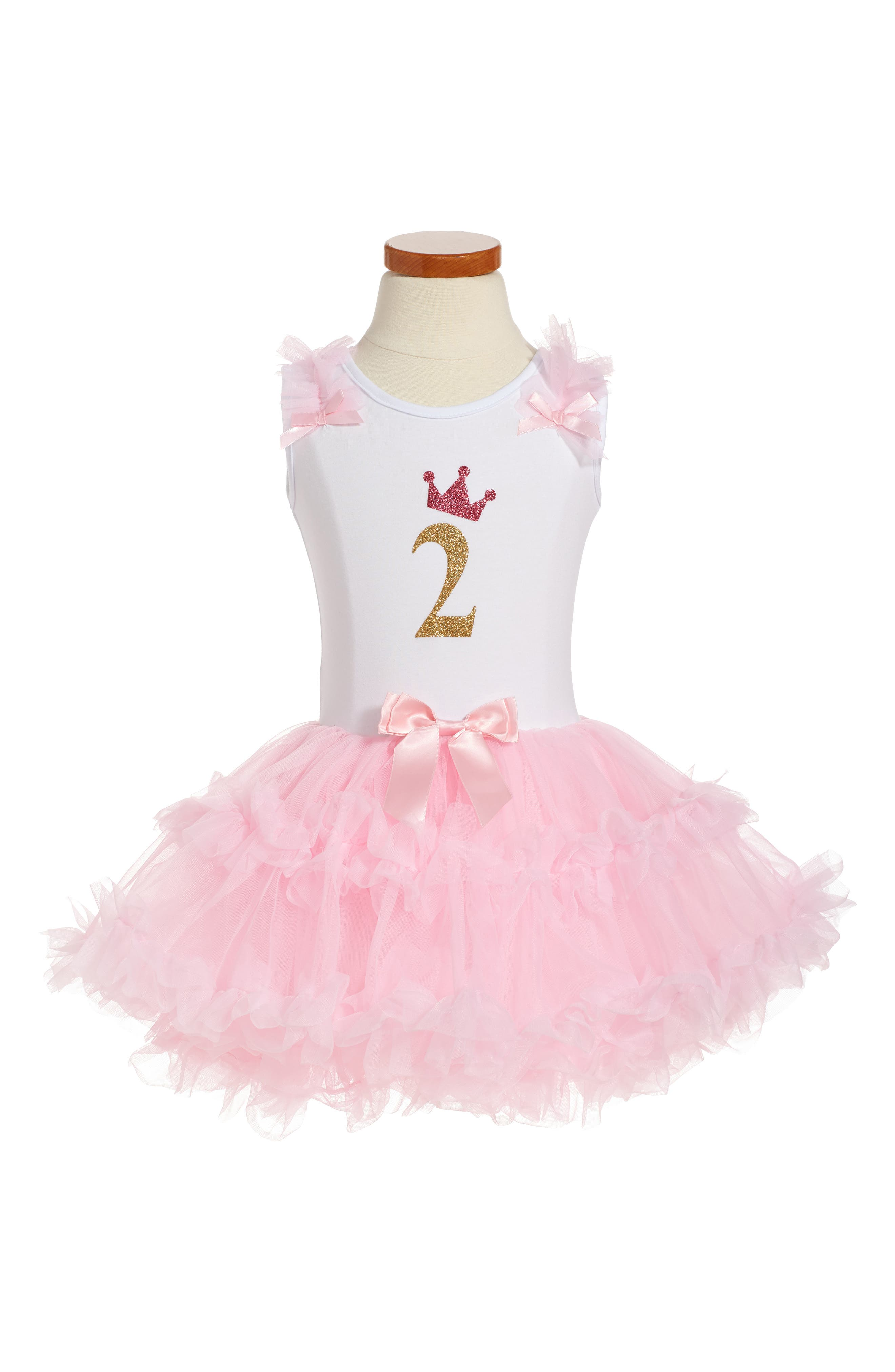 Birthday Print Tutu Dress,                         Main,                         color, PINK