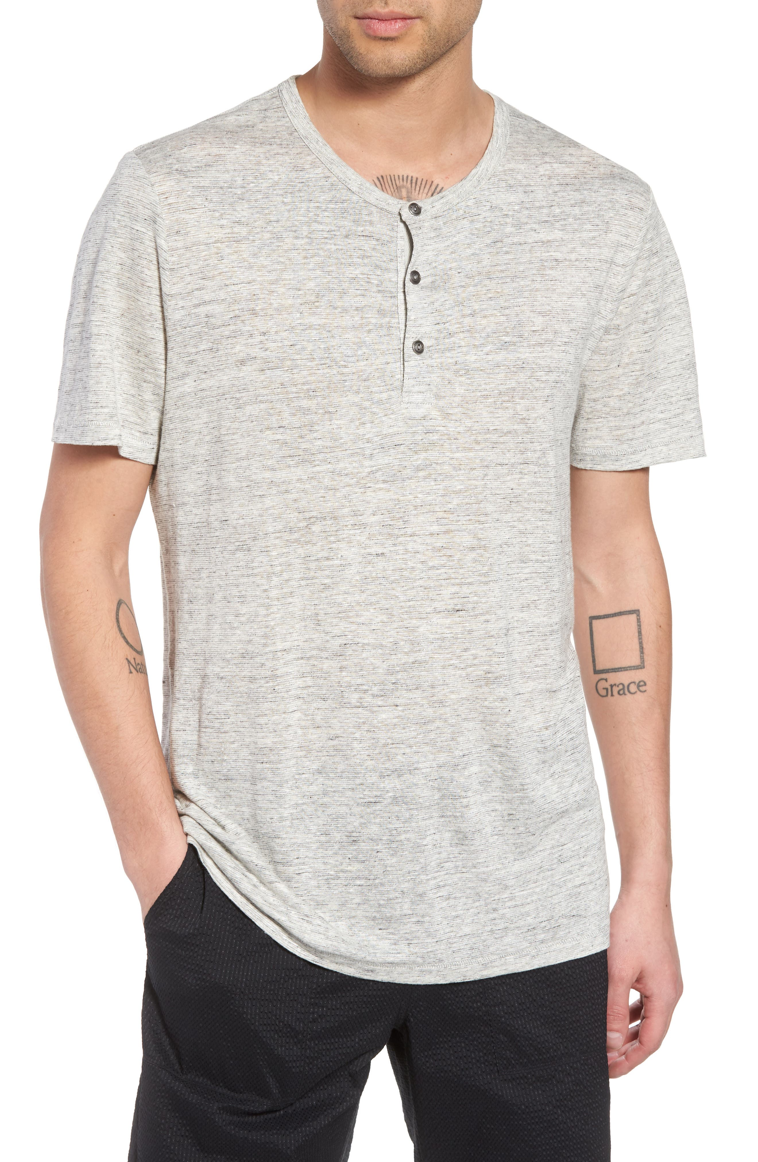 Short Sleeve Linen Henley,                         Main,                         color, 050