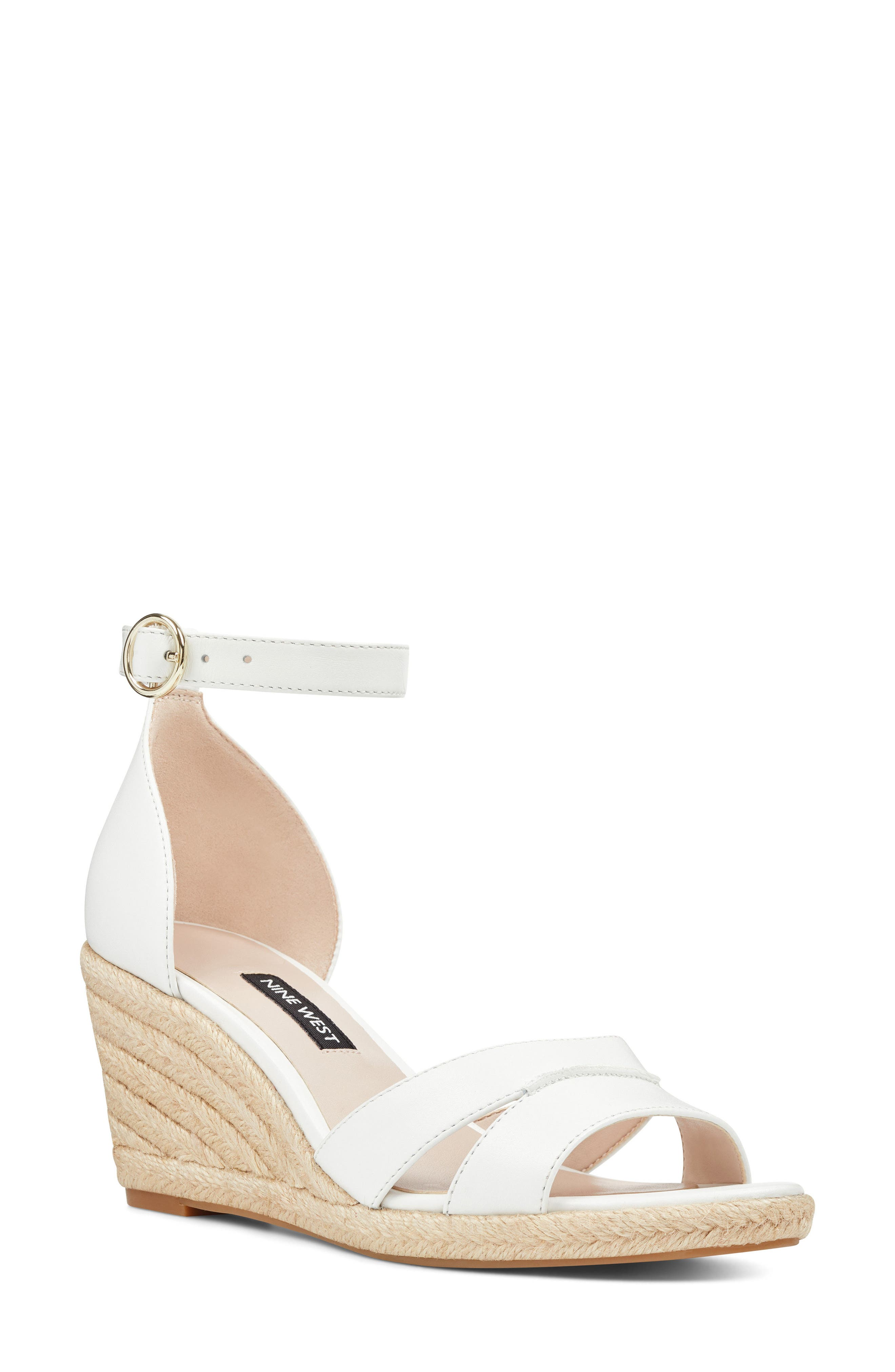 Jeranna Espadrille Wedge Sandal,                             Main thumbnail 1, color,                             WHITE LEATHER