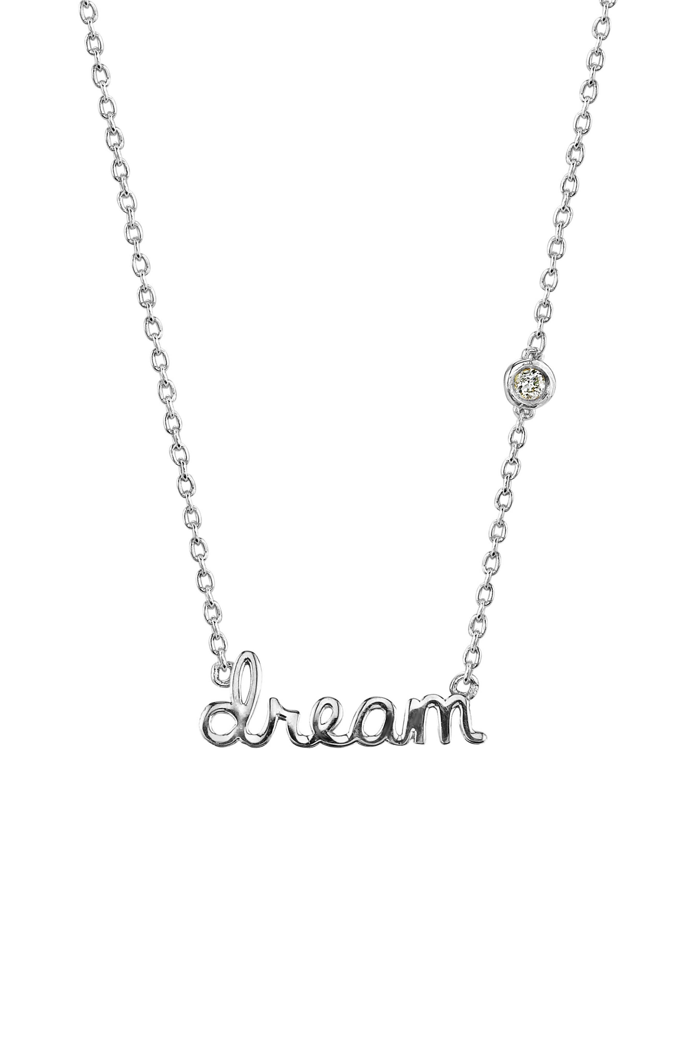 Dream Diamond Pendant Necklace,                             Main thumbnail 1, color,                             SILVER