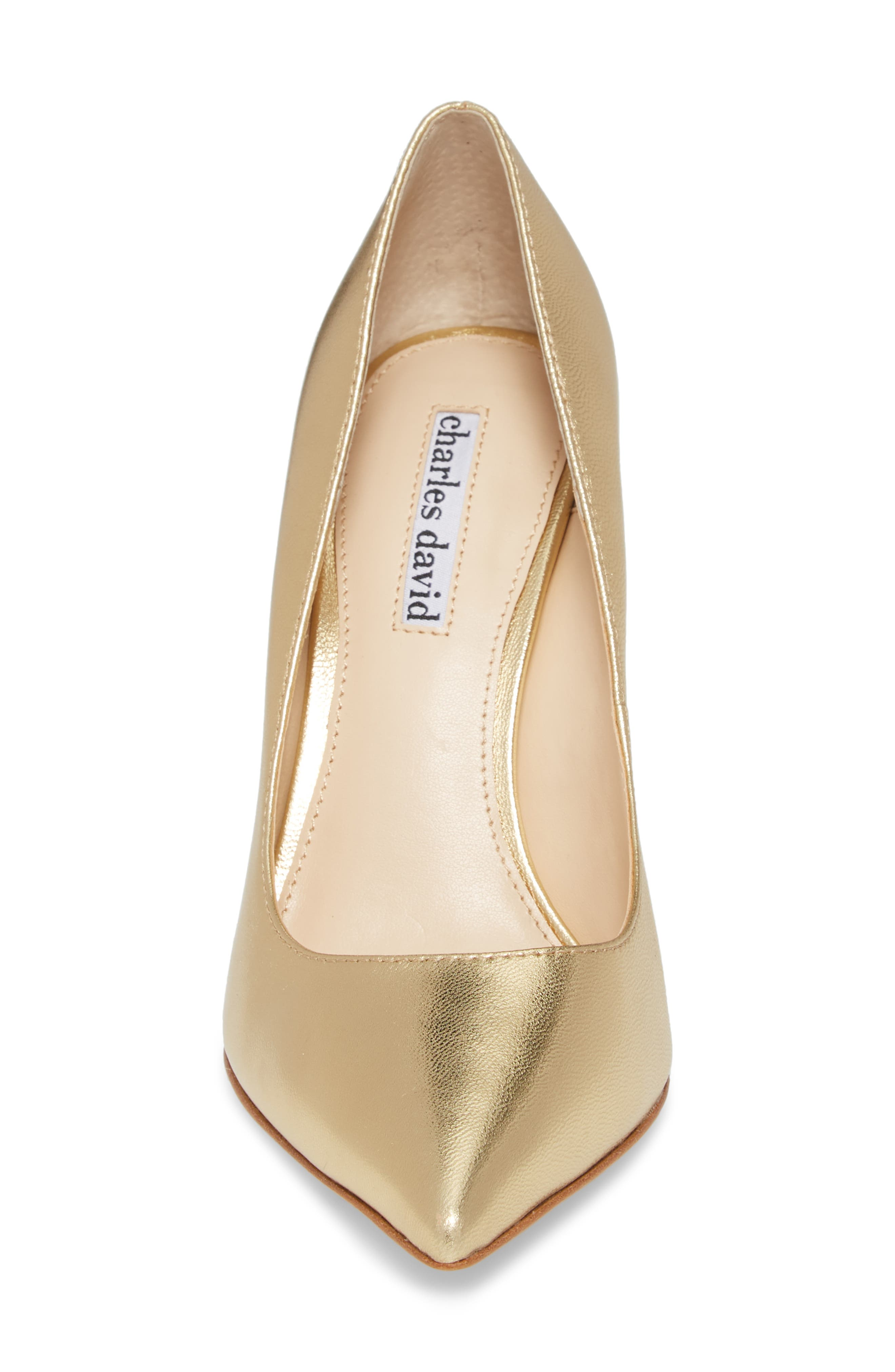 Calessi Pointy Toe Pump,                             Alternate thumbnail 4, color,                             GOLD LEATHER