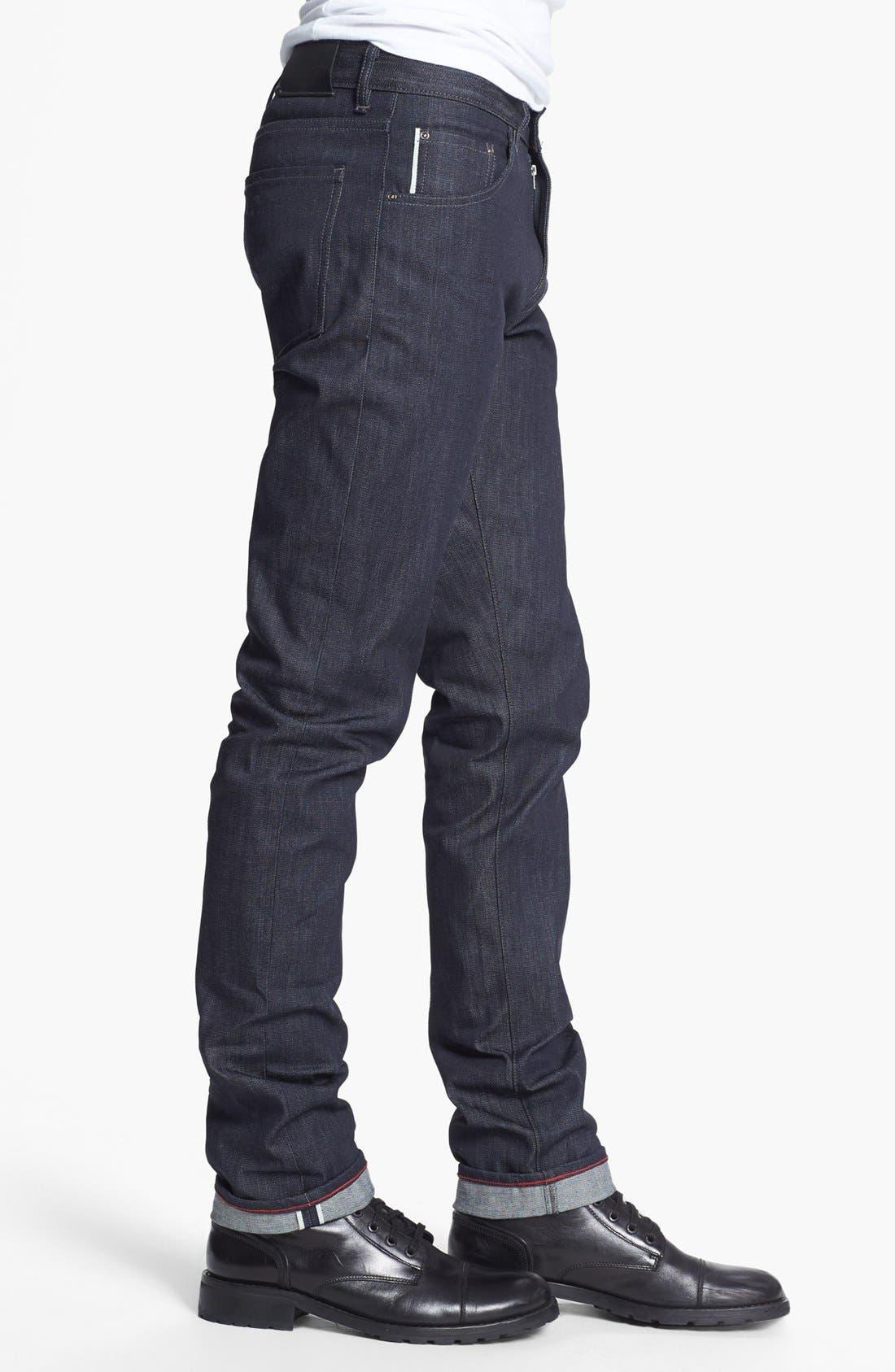 RALEIGH DENIM,                             'Martin' Skinny Fit Selvedge Jeans,                             Alternate thumbnail 3, color,                             401