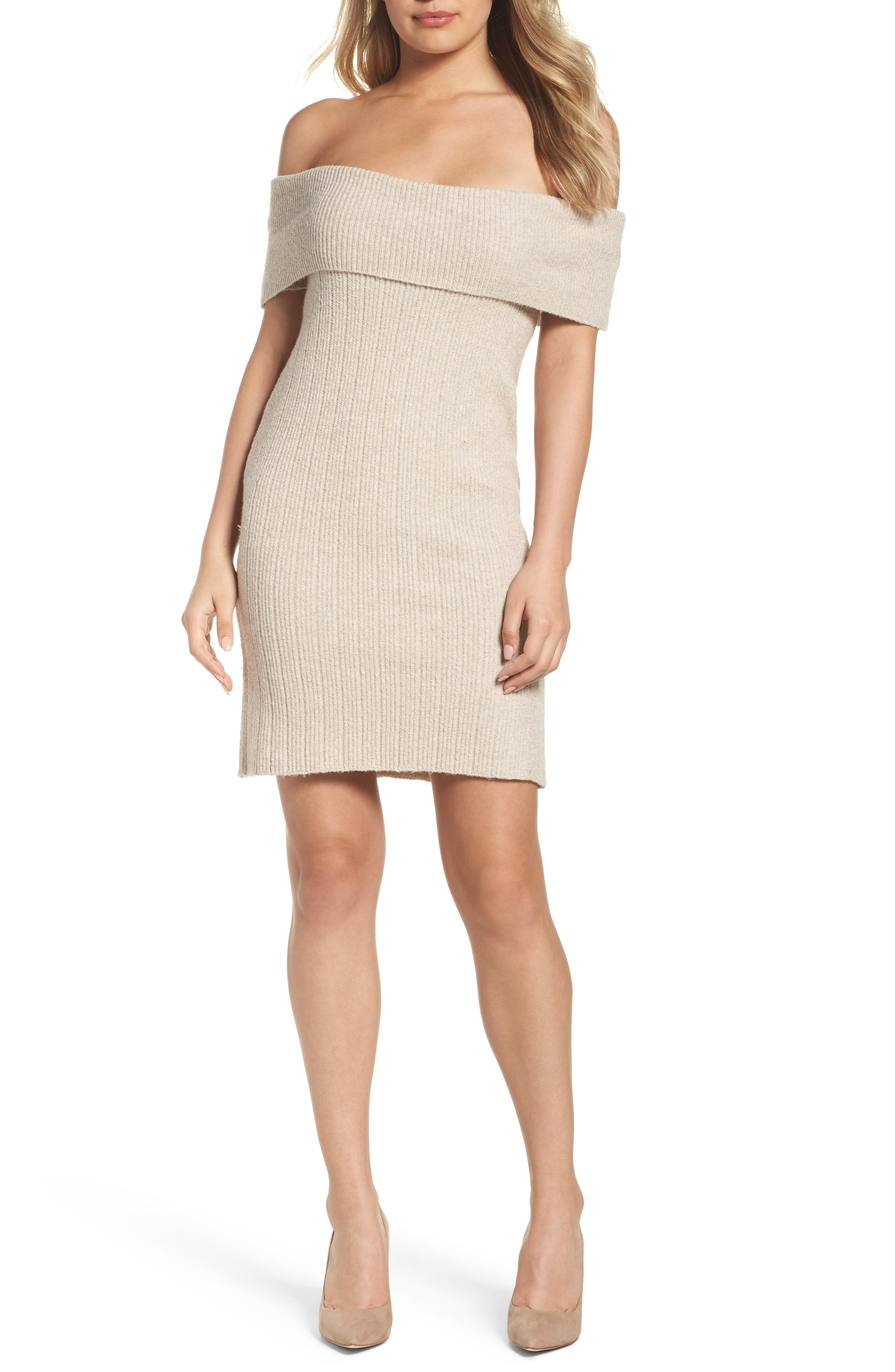 Porter Off the Shoulder Sheath Dress,                             Main thumbnail 2, color,