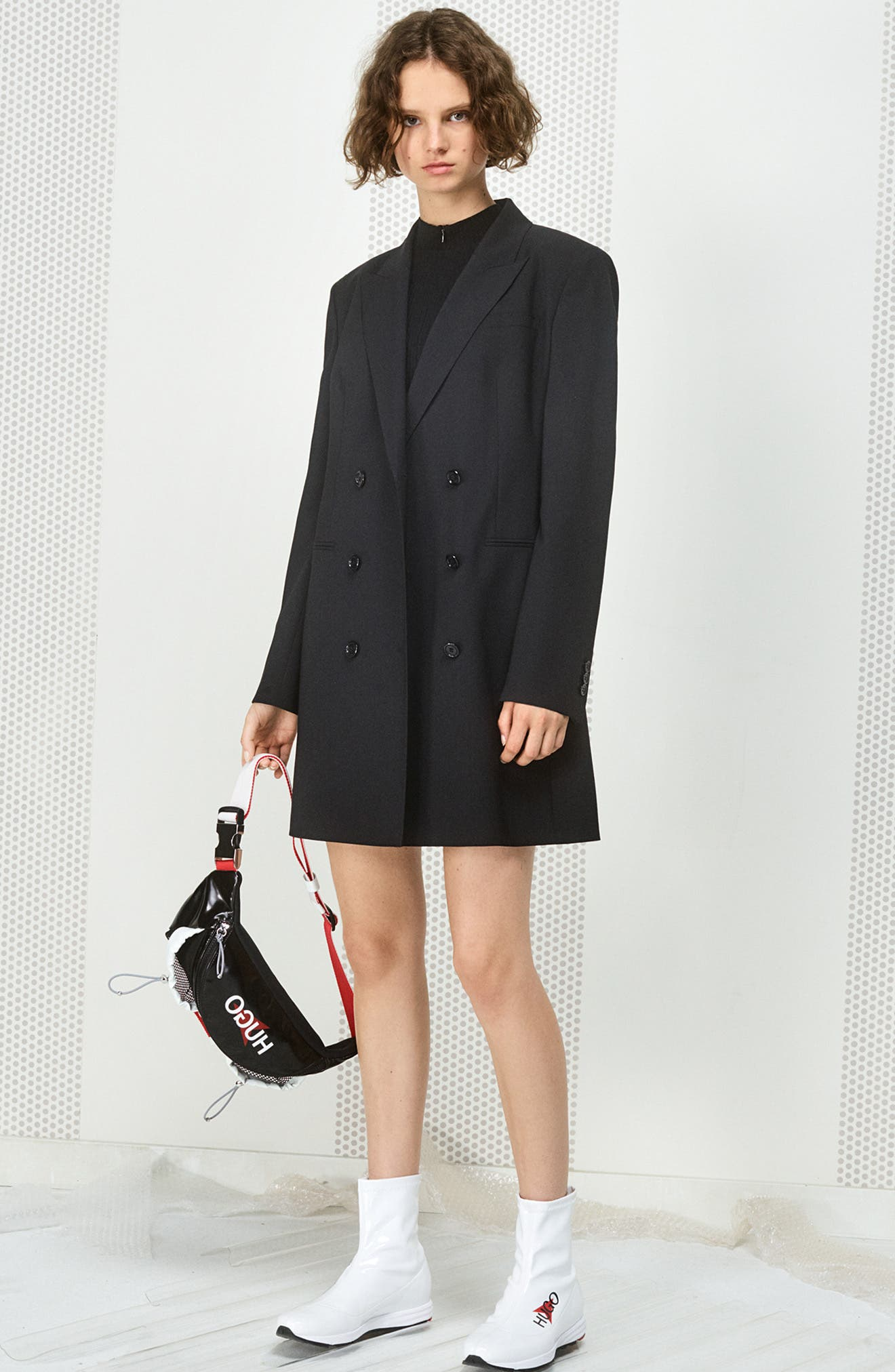 Akasa Blazer Dress,                             Alternate thumbnail 7, color,                             BLACK
