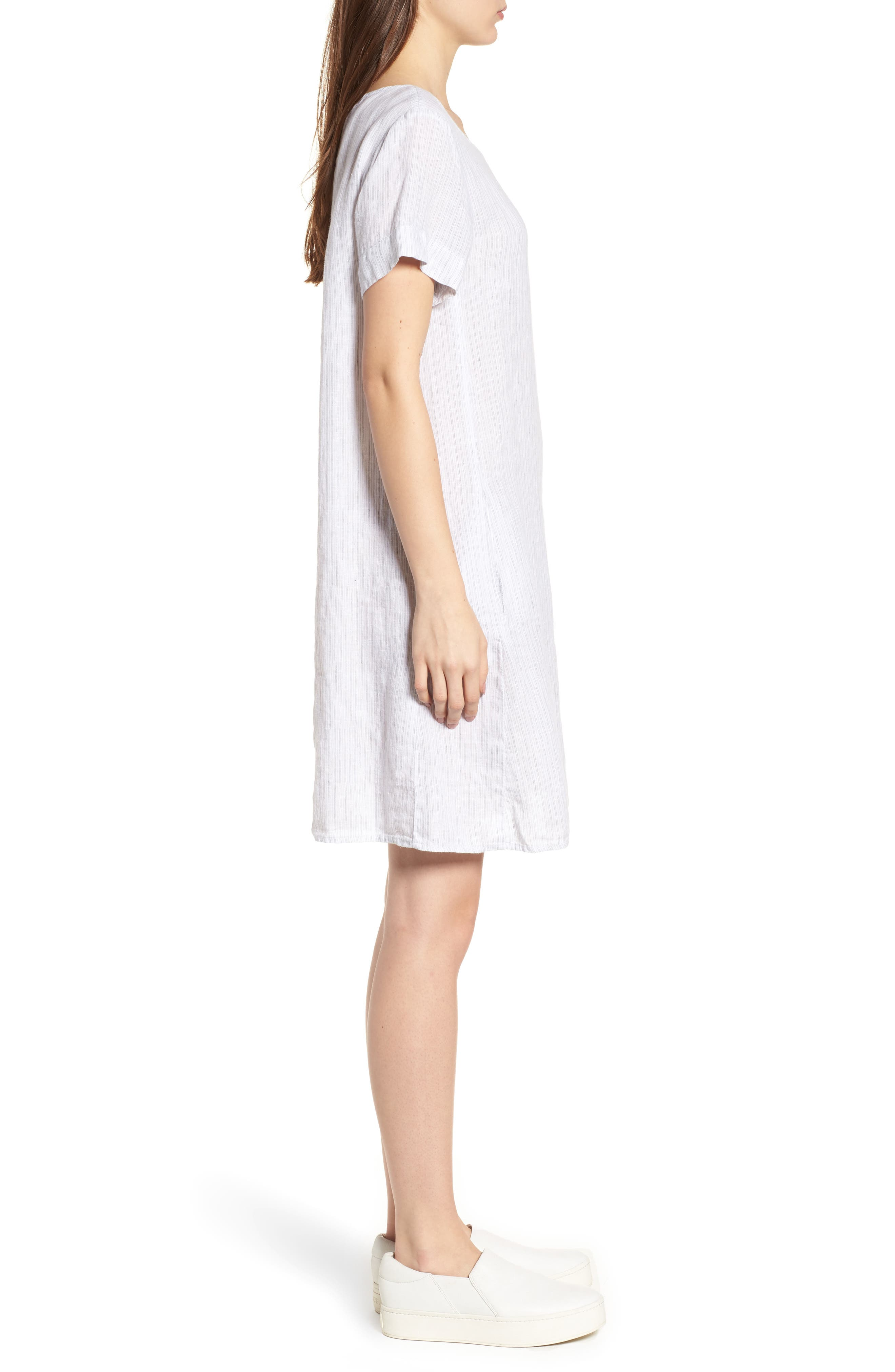 Stripe Linen Dress,                             Alternate thumbnail 3, color,                             053