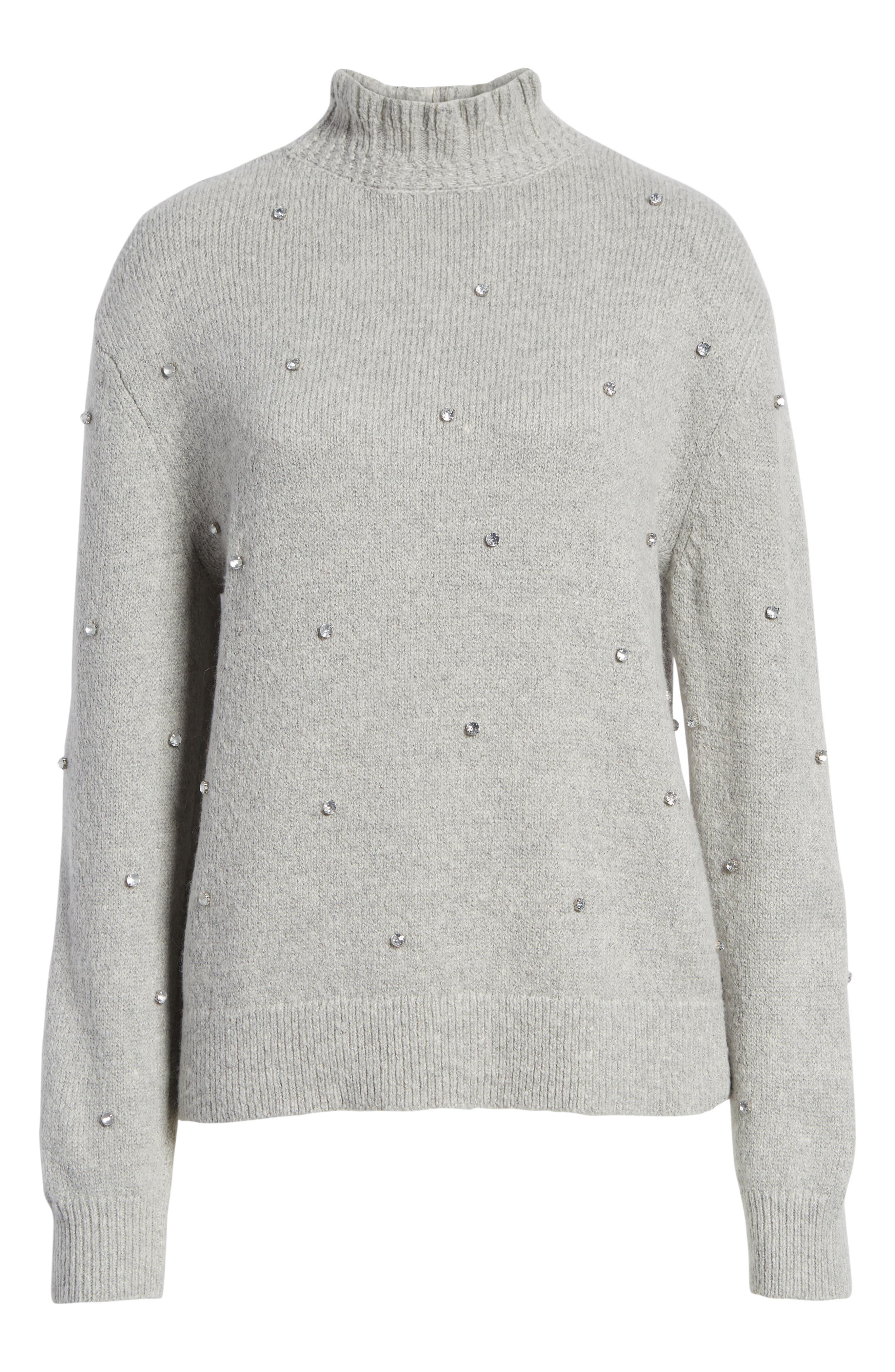 Embellished Ruffle Neck Sweater,                             Alternate thumbnail 6, color,                             GREY LIGHT HEATHER
