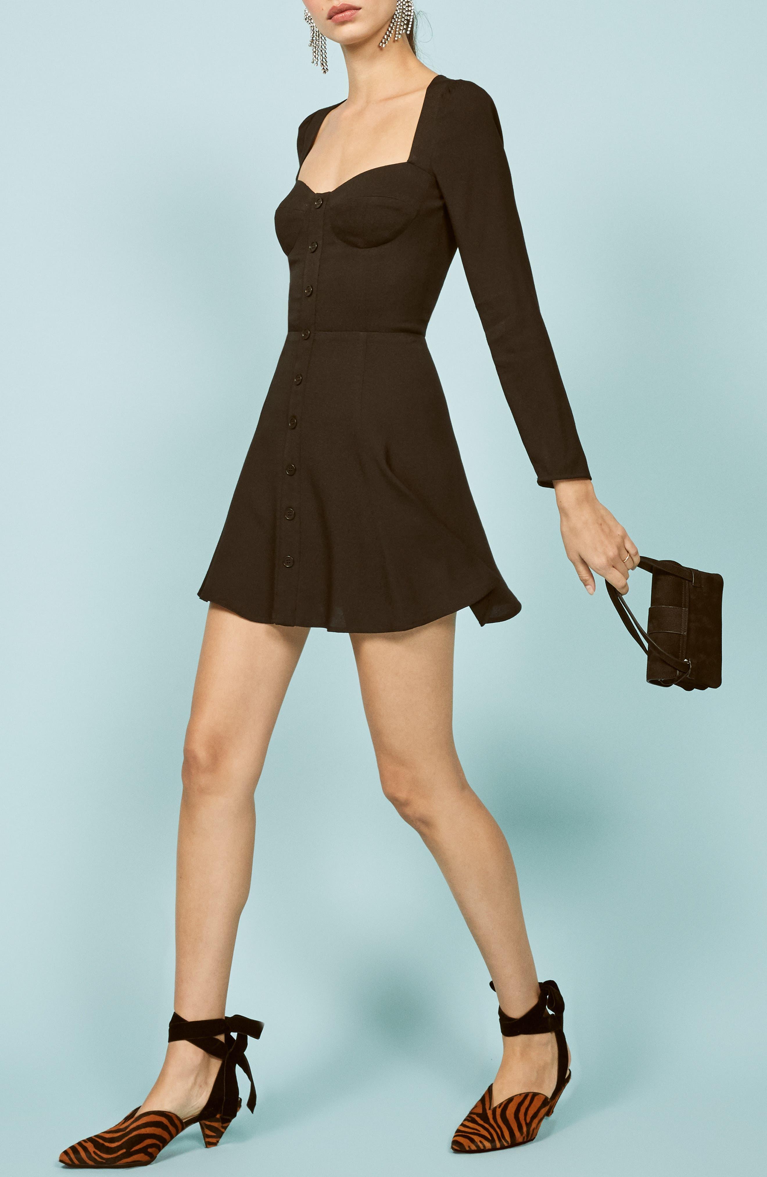 Milla Fit & Flare Minidress,                             Alternate thumbnail 4, color,                             BLACK