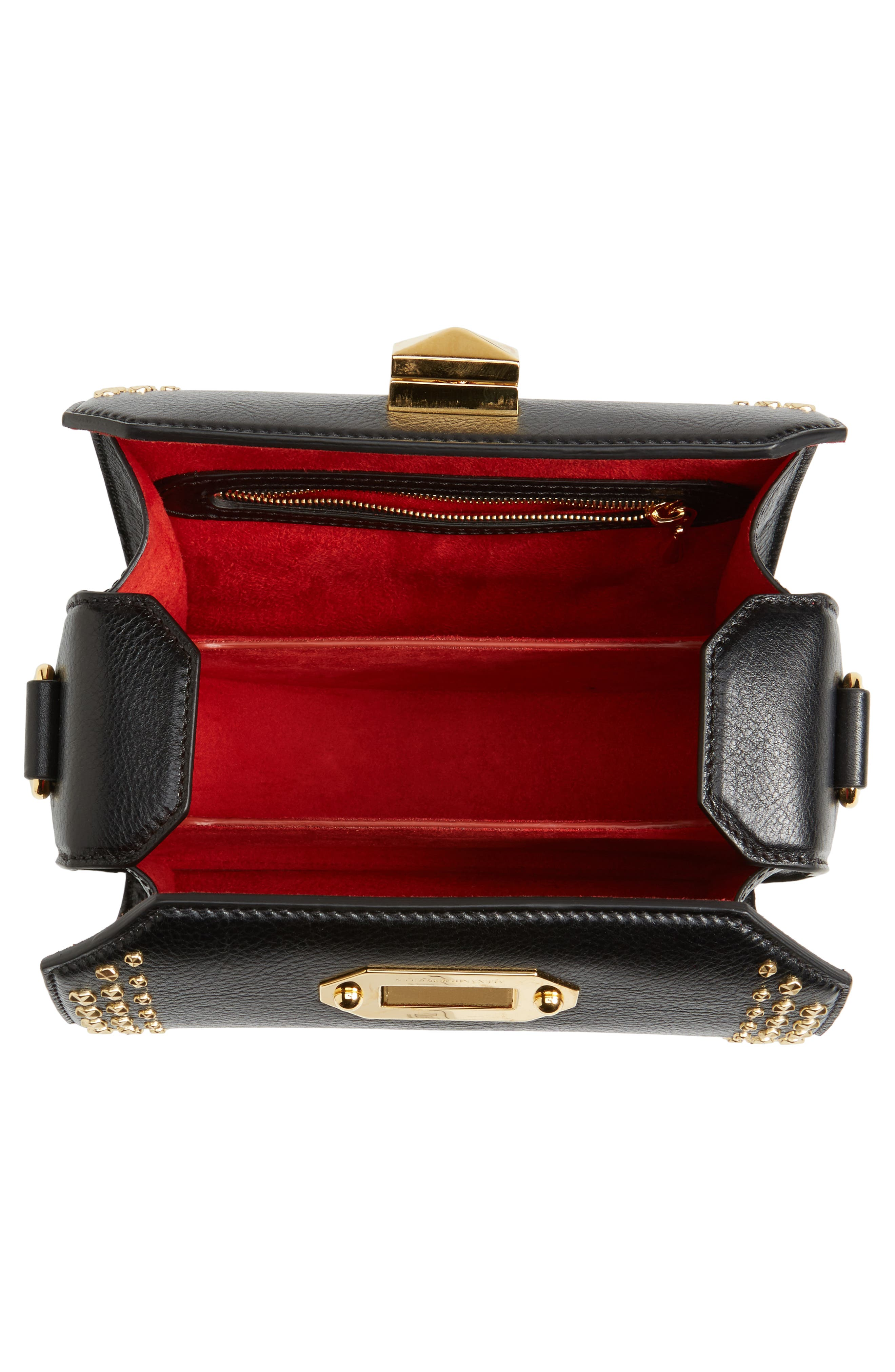 Box Bag 19 Studded Leather Bag,                             Alternate thumbnail 5, color,                             BLACK