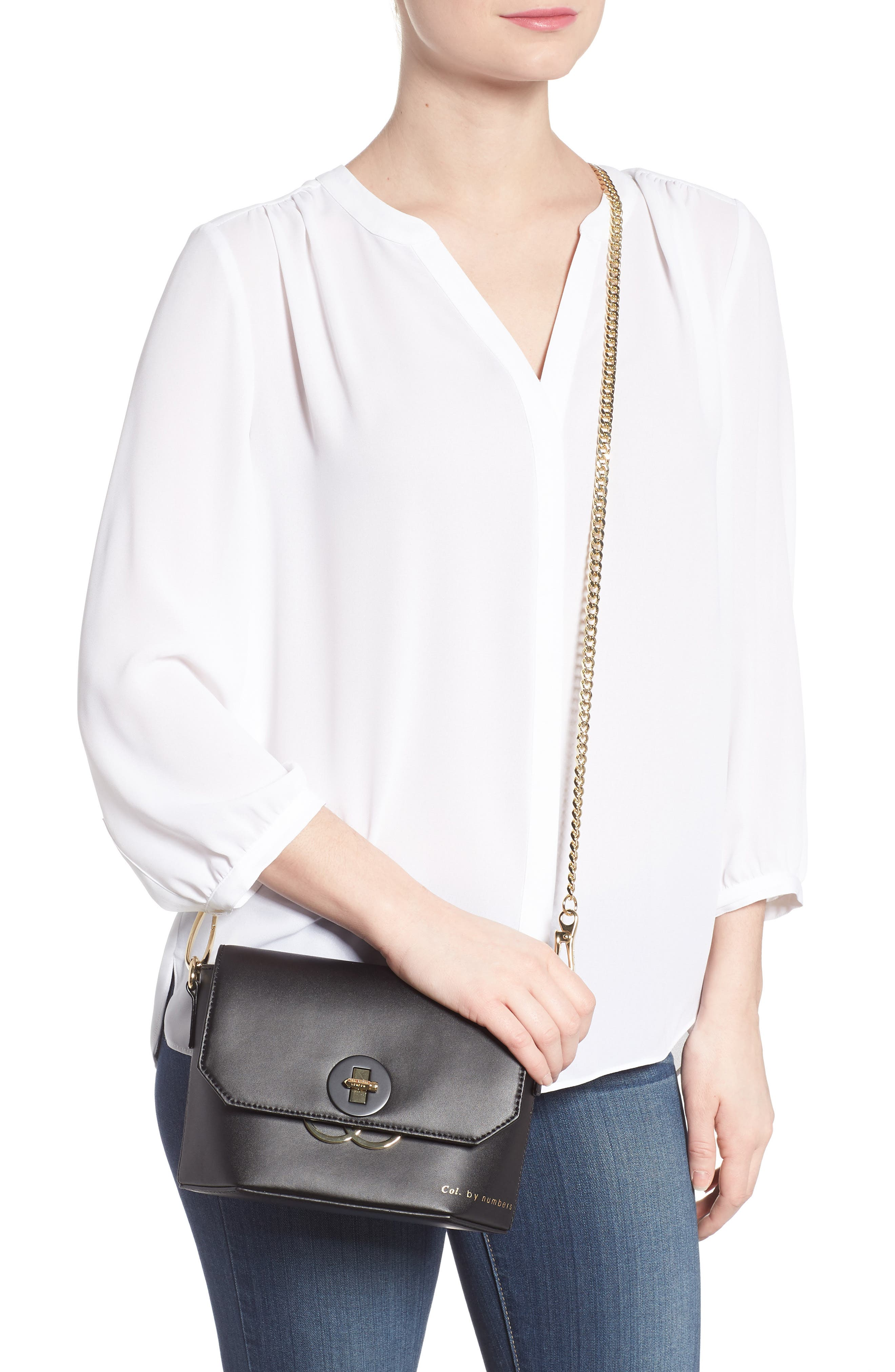 Colour by Numbers Leather Crossbody Bag,                             Alternate thumbnail 2, color,                             001