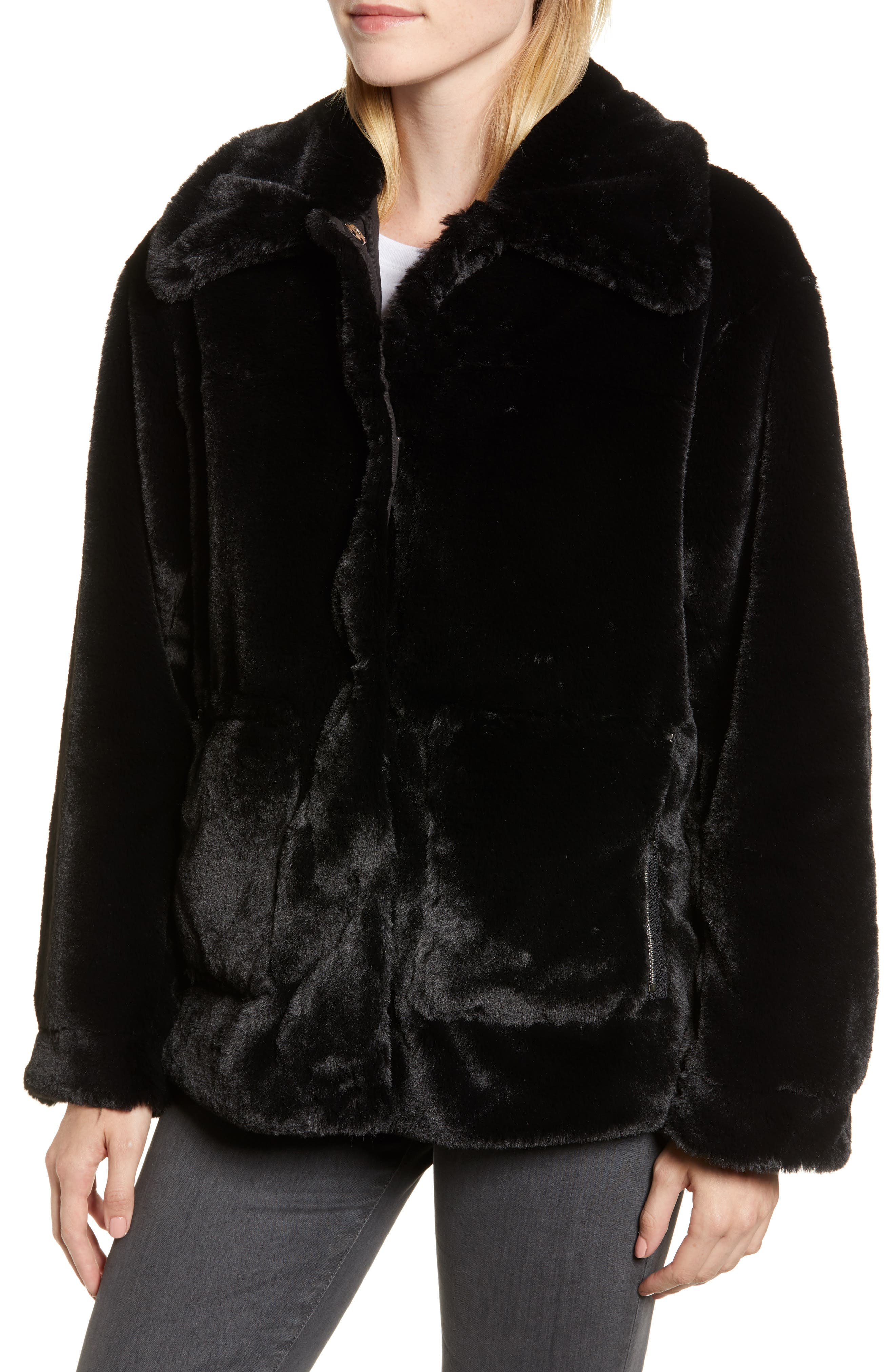 Salma Faux Fur Jacket,                             Alternate thumbnail 4, color,                             BLACK