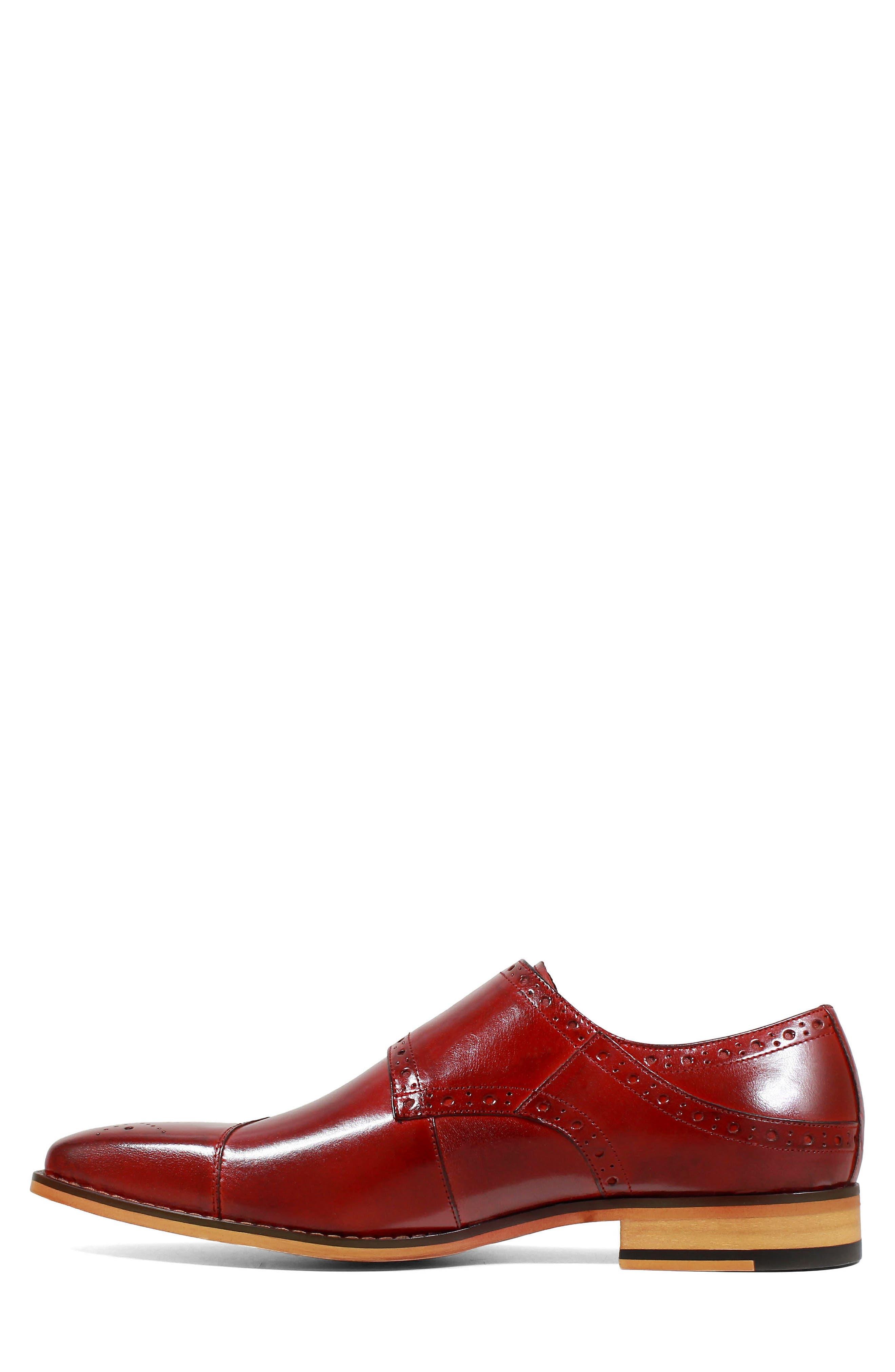 Tayton Cap Toe Double Strap Monk Shoe,                             Alternate thumbnail 8, color,                             RED LEATHER