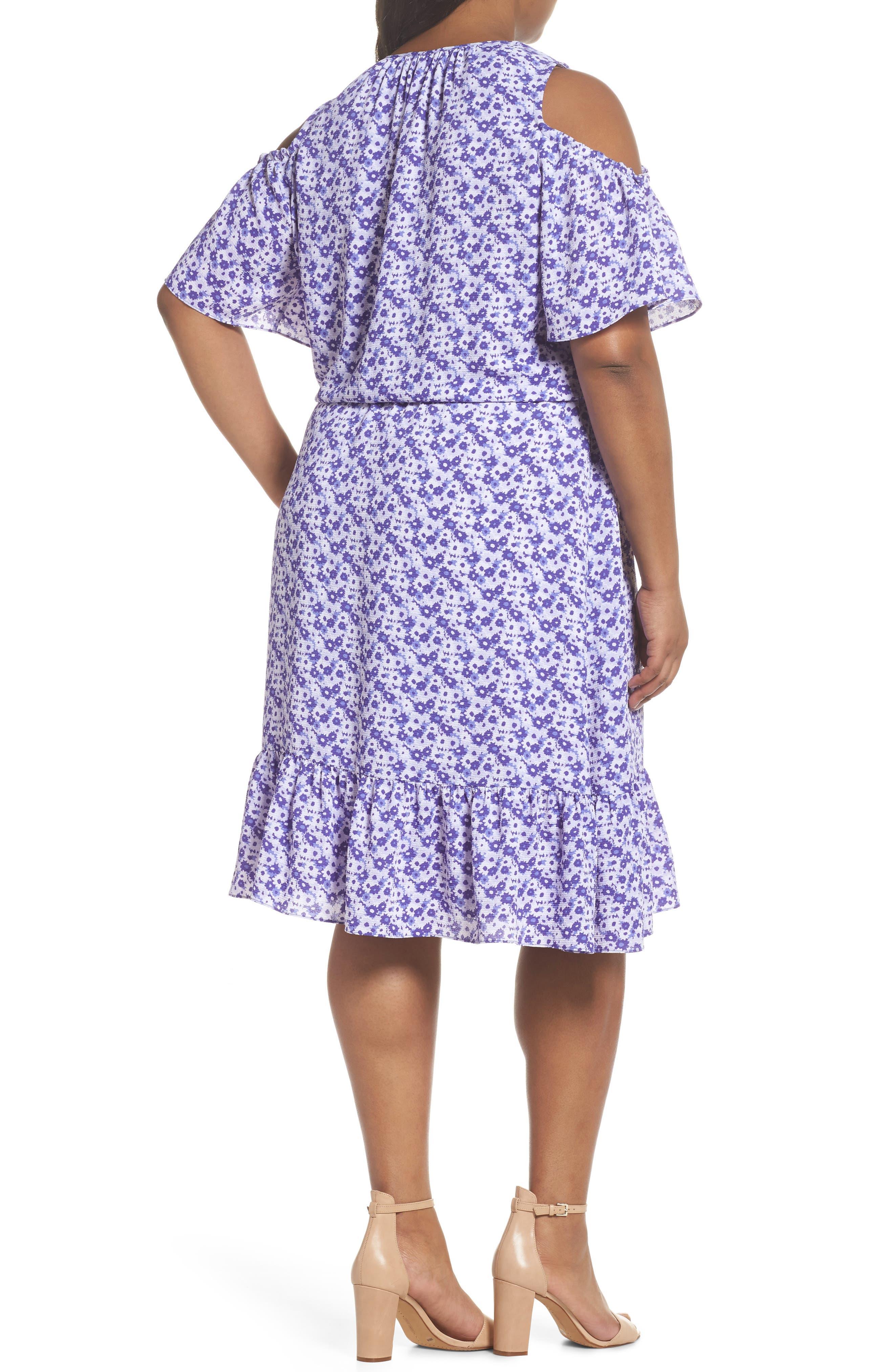 Floral Cold Shoulder Midi Dress,                             Alternate thumbnail 2, color,                             580
