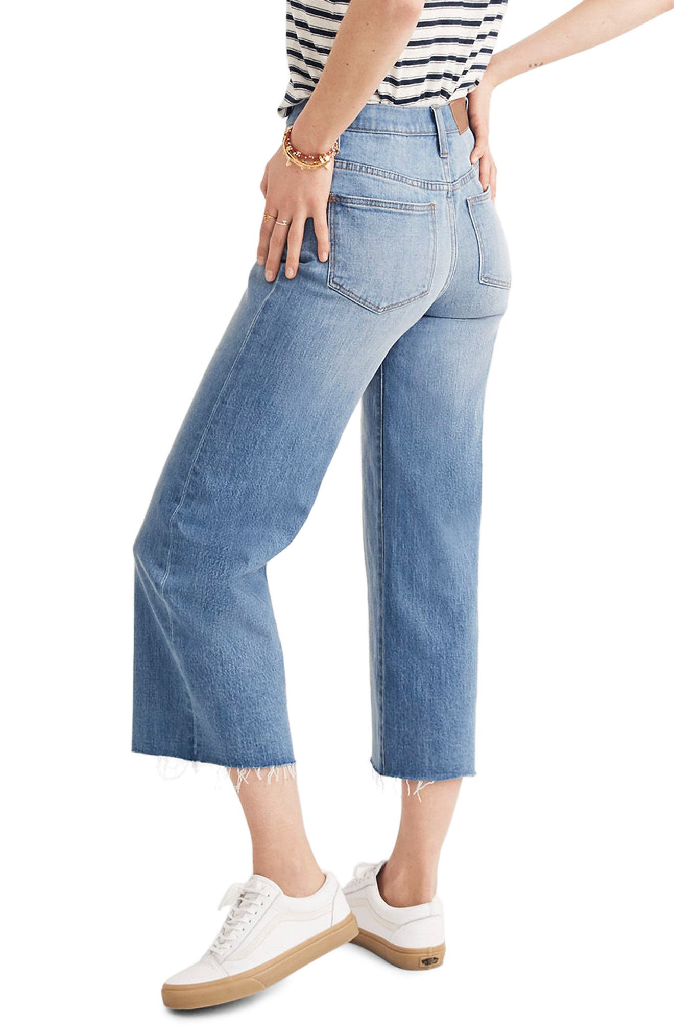 Button Front Wide Leg Crop Jeans,                             Alternate thumbnail 2, color,                             MARTINA WASH