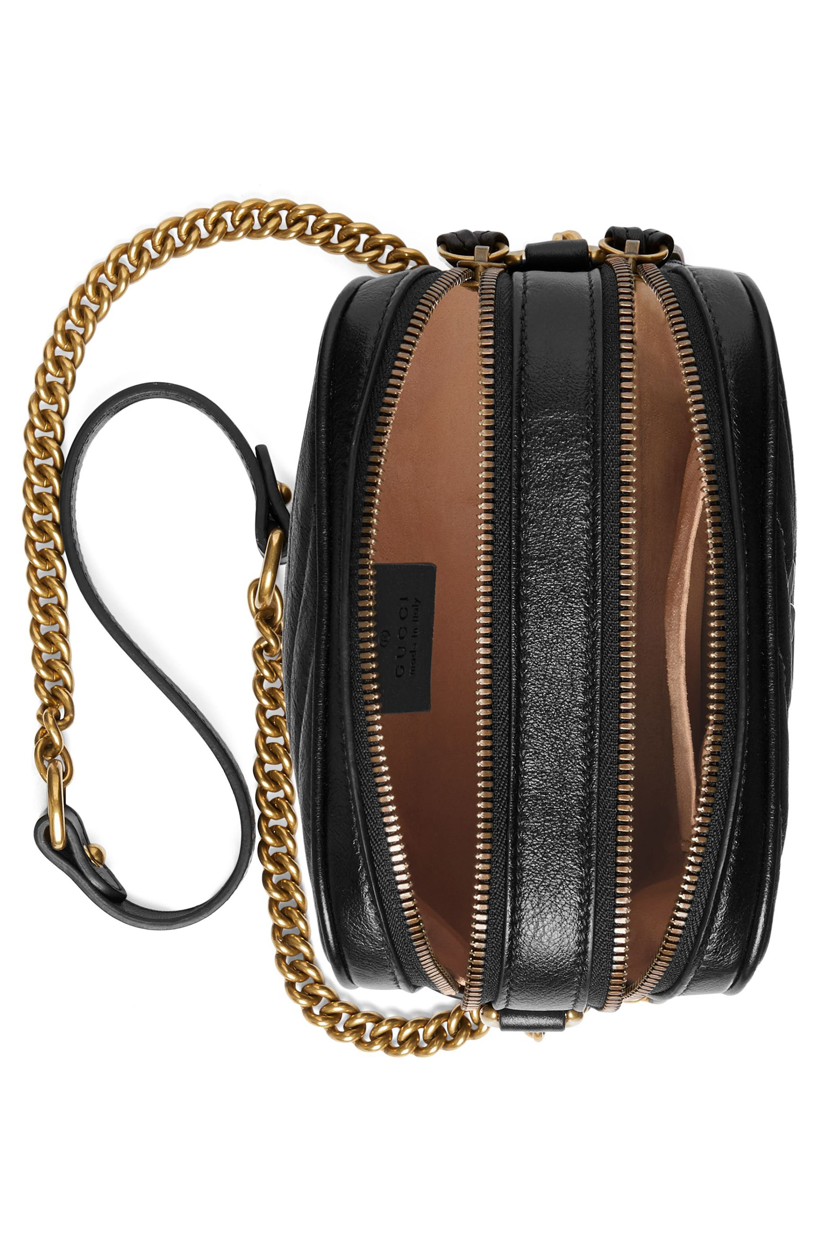 Mini Marmont 2.0 Leather Crossbody Bag,                             Alternate thumbnail 3, color,                             NERO