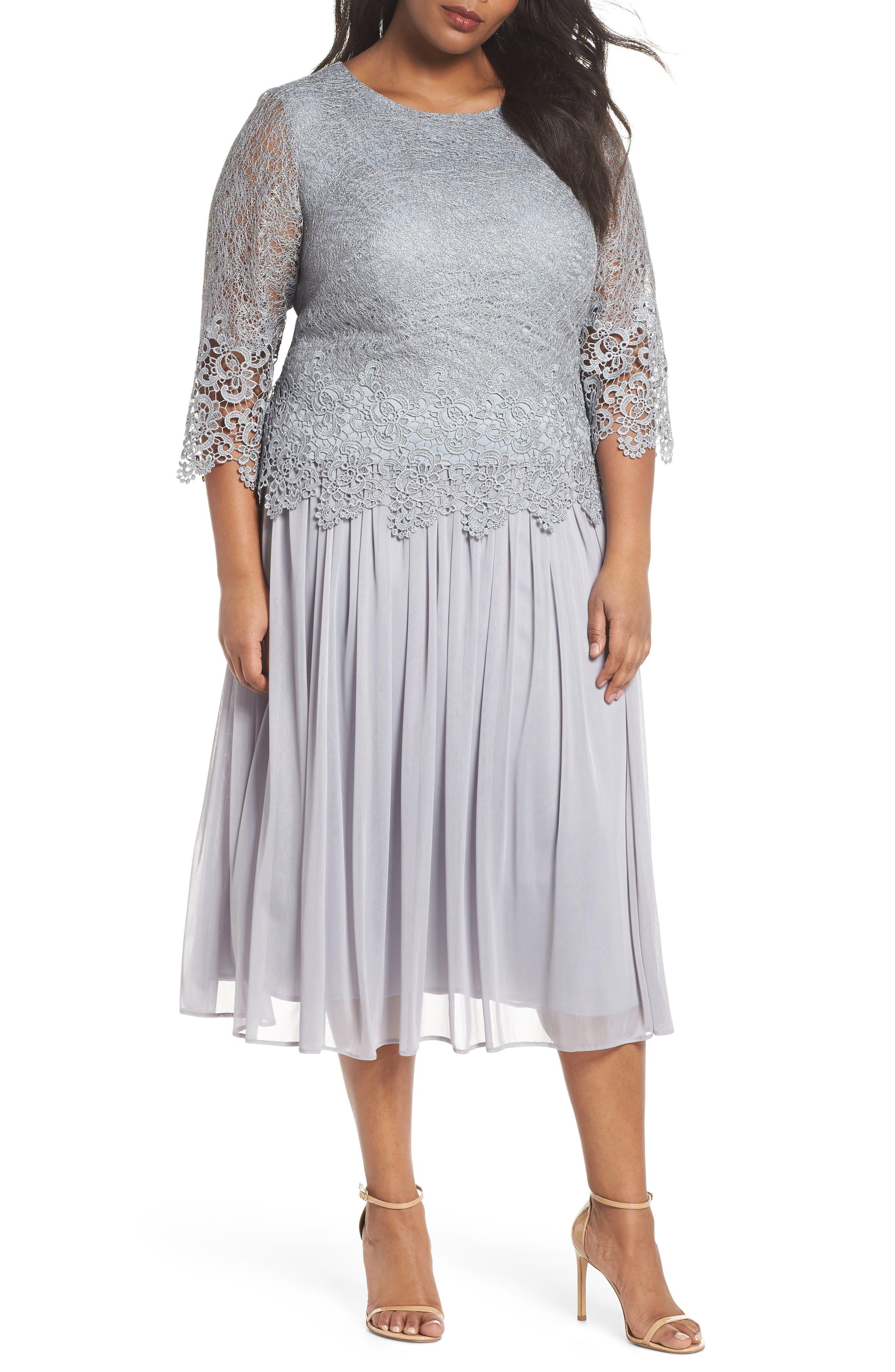 Lace & Chiffon Tea Length Dress,                         Main,                         color, SILVER