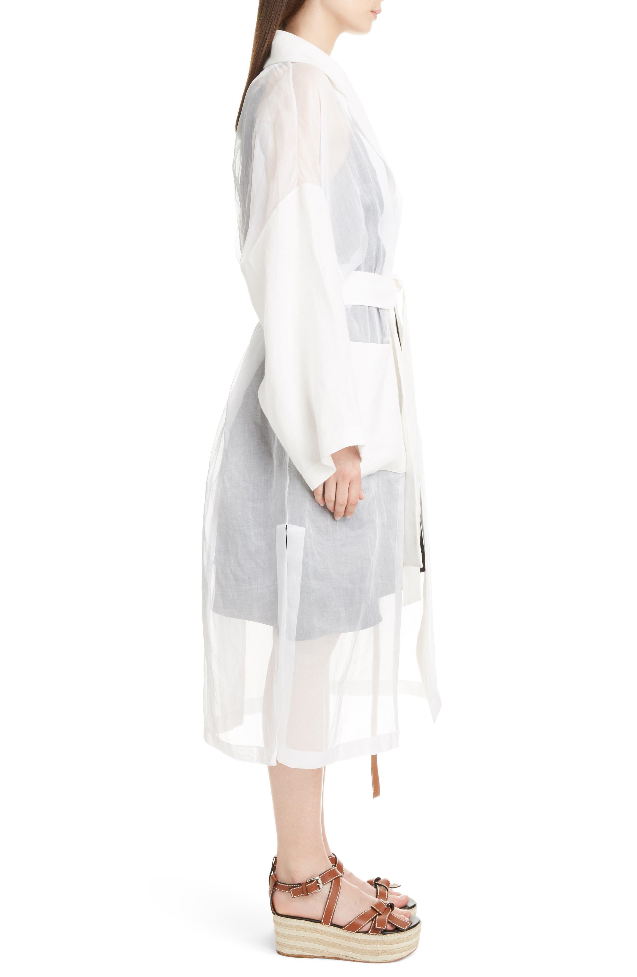 Sheer Cotton & Linen Trench Coat,                             Alternate thumbnail 3, color,                             WHITE