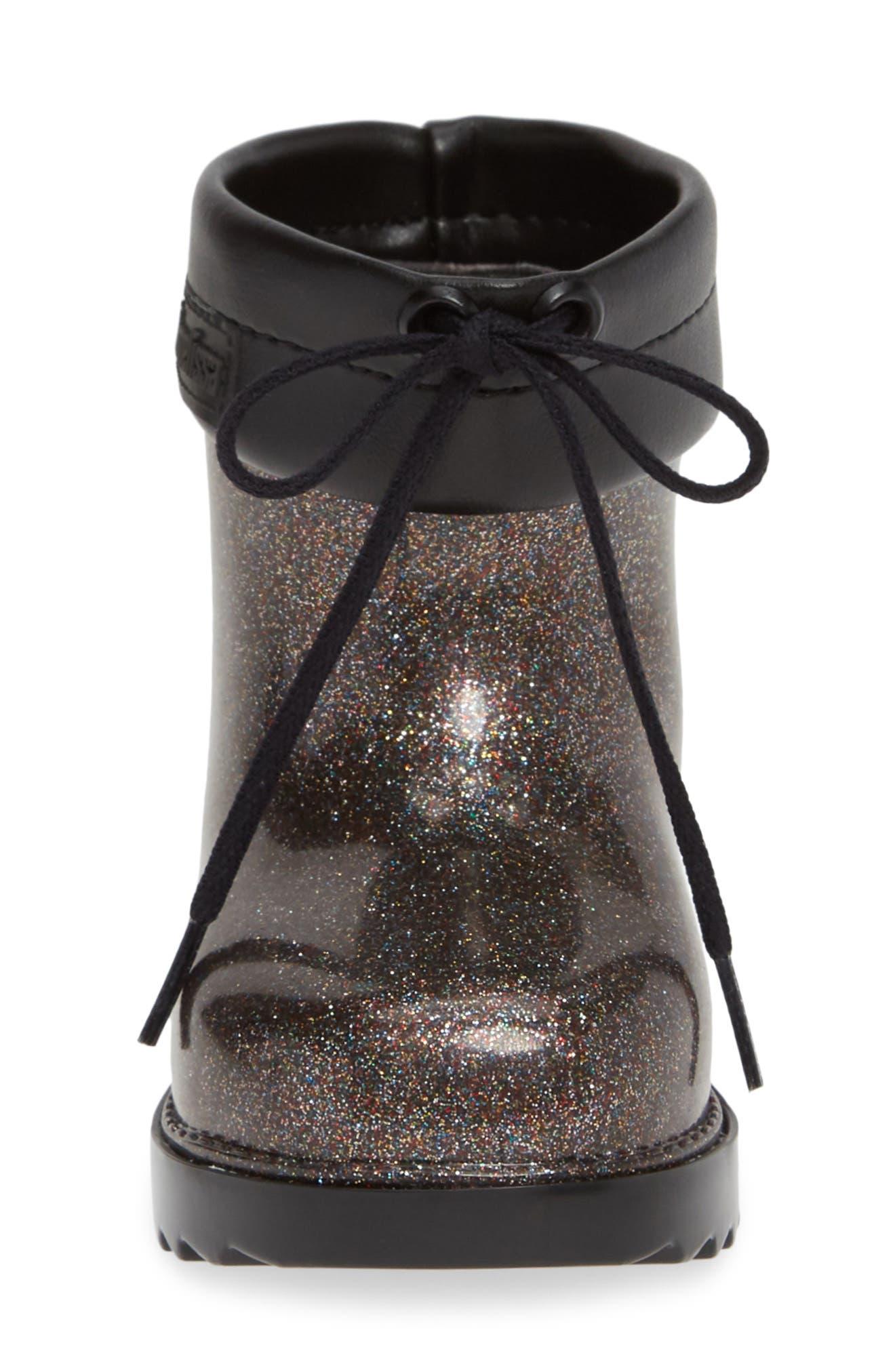MINI MELISSA,                             Glitter Water Resistant Rain Bootie,                             Alternate thumbnail 4, color,                             BLACK GLITTER