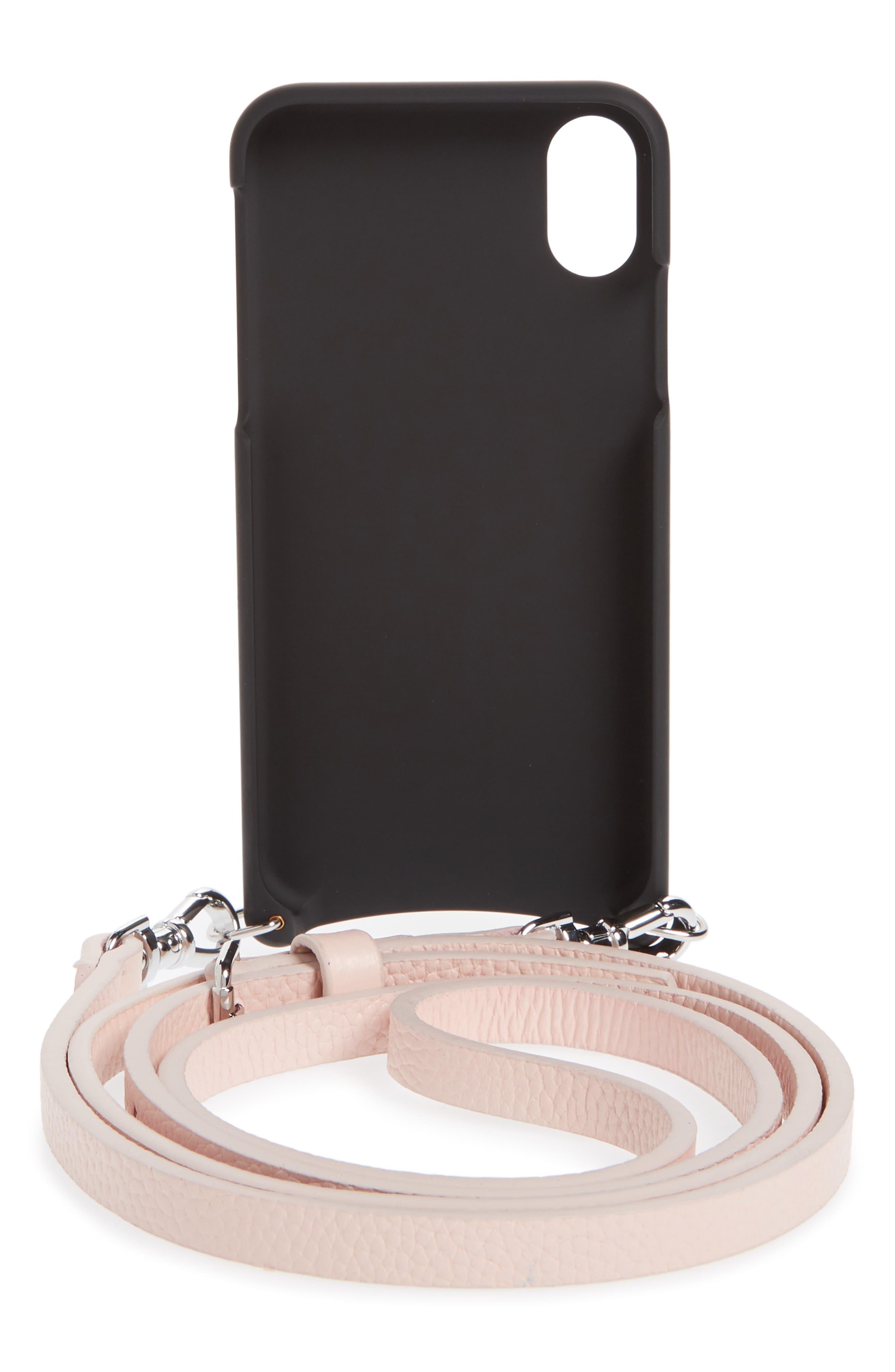 Emma iPhone X & Xs Crossbody Case,                             Alternate thumbnail 3, color,                             LIGHT PINK/ SILVER