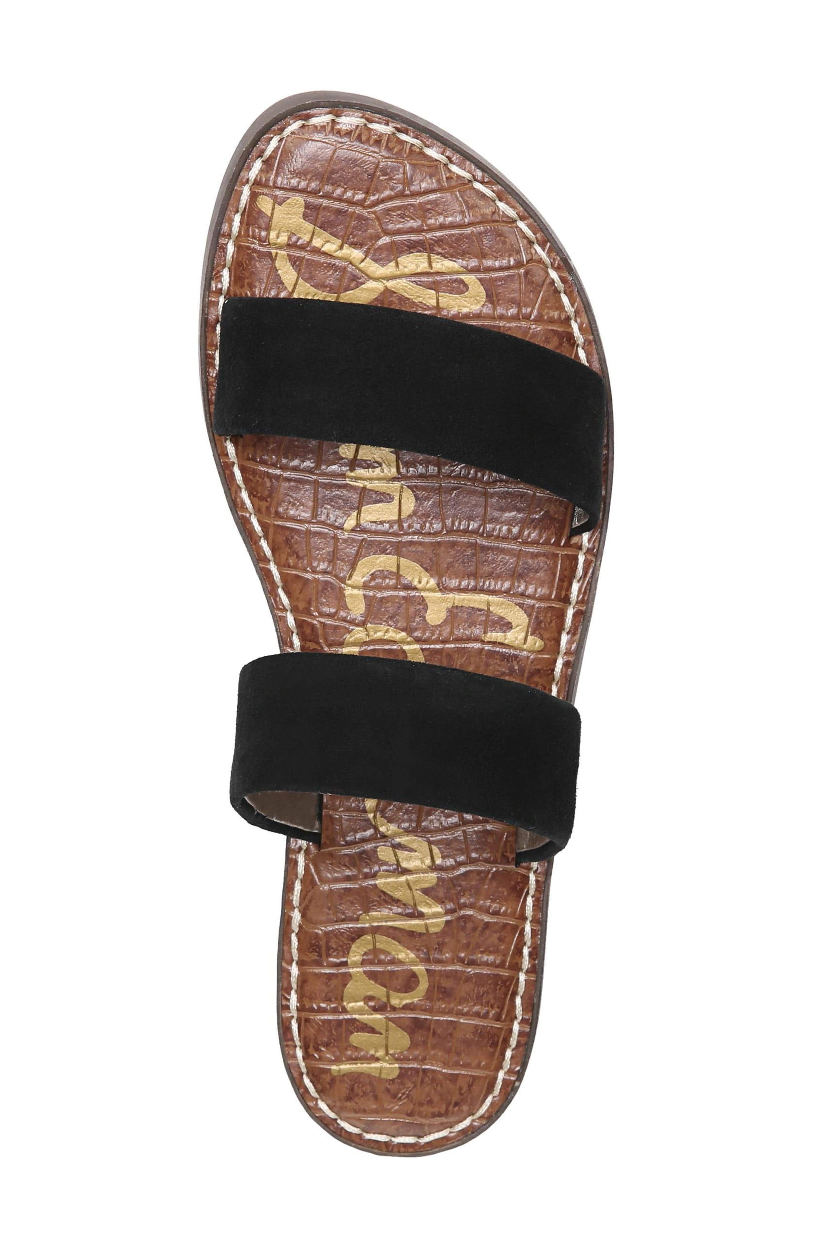 Gala Two Strap Slide Sandal,                             Alternate thumbnail 5, color,                             BLACK SUEDE