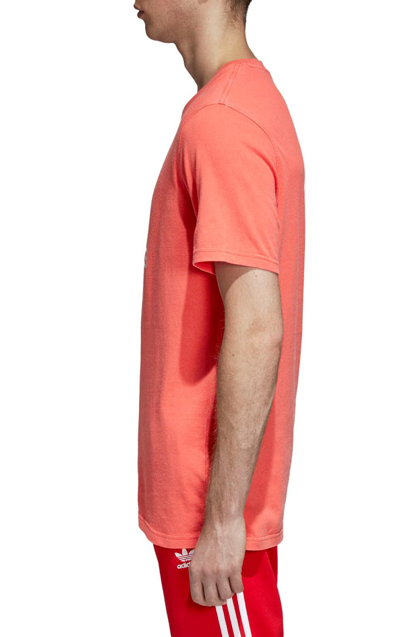 Trefoil Graphic T-Shirt,                             Alternate thumbnail 3, color,                             BRIGHT RED