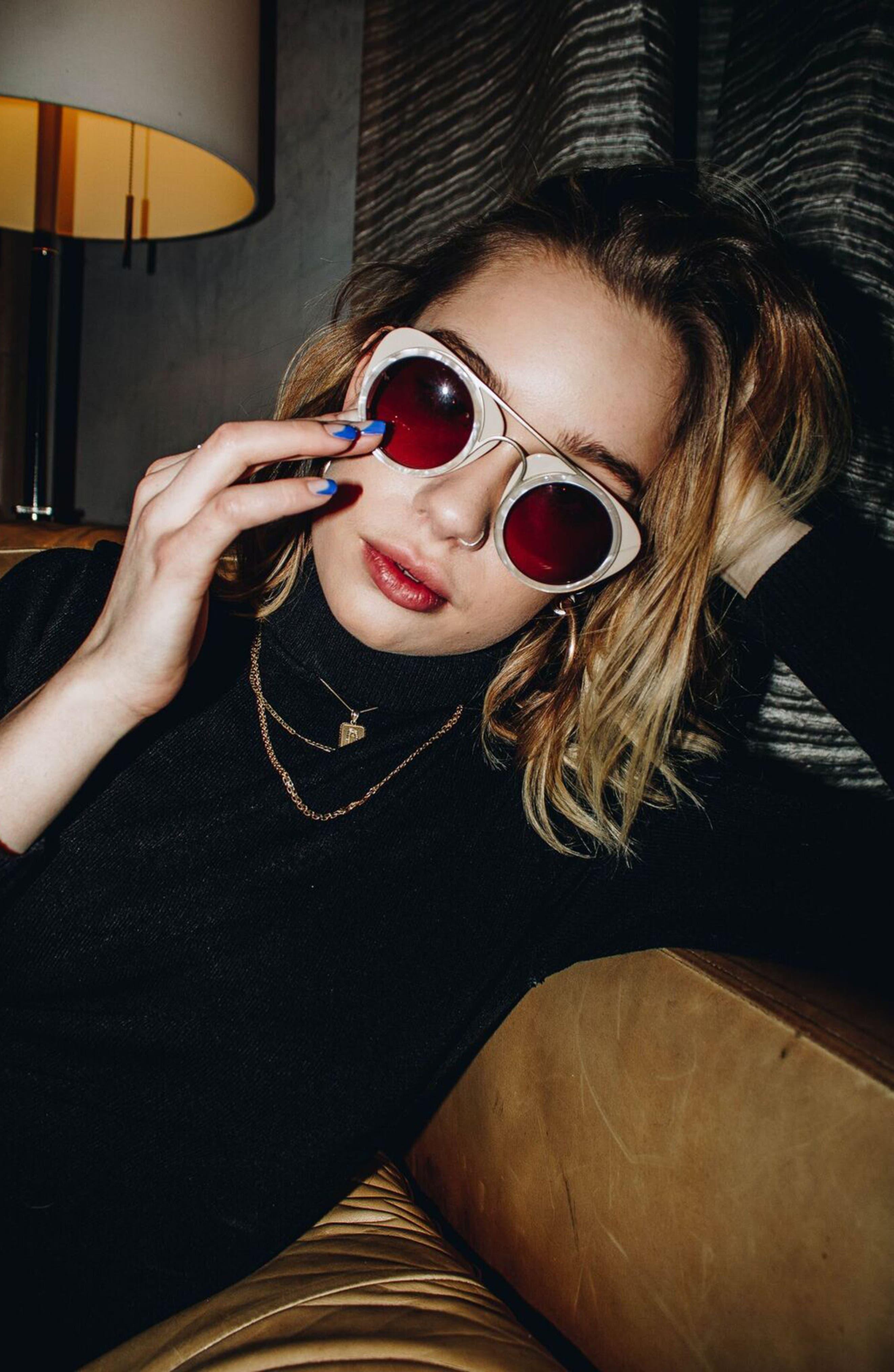 Soda Pop 3 47mm Round Sunglasses,                             Alternate thumbnail 2, color,                             BURGUNDY/ BURGUNDY/ GOLD