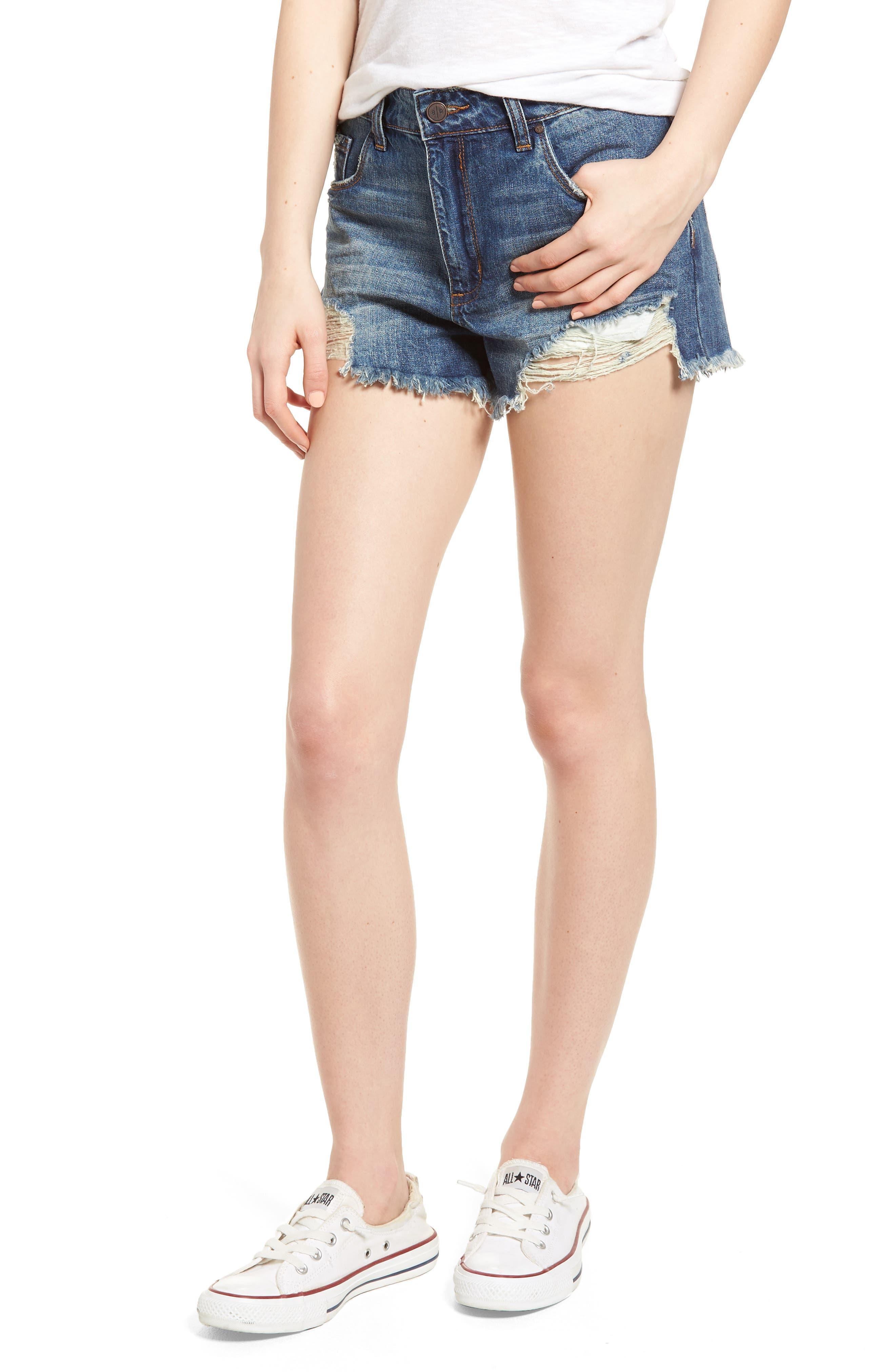 High Waist Frayed Hem Denim Shorts,                         Main,                         color, MEDIUM WASH