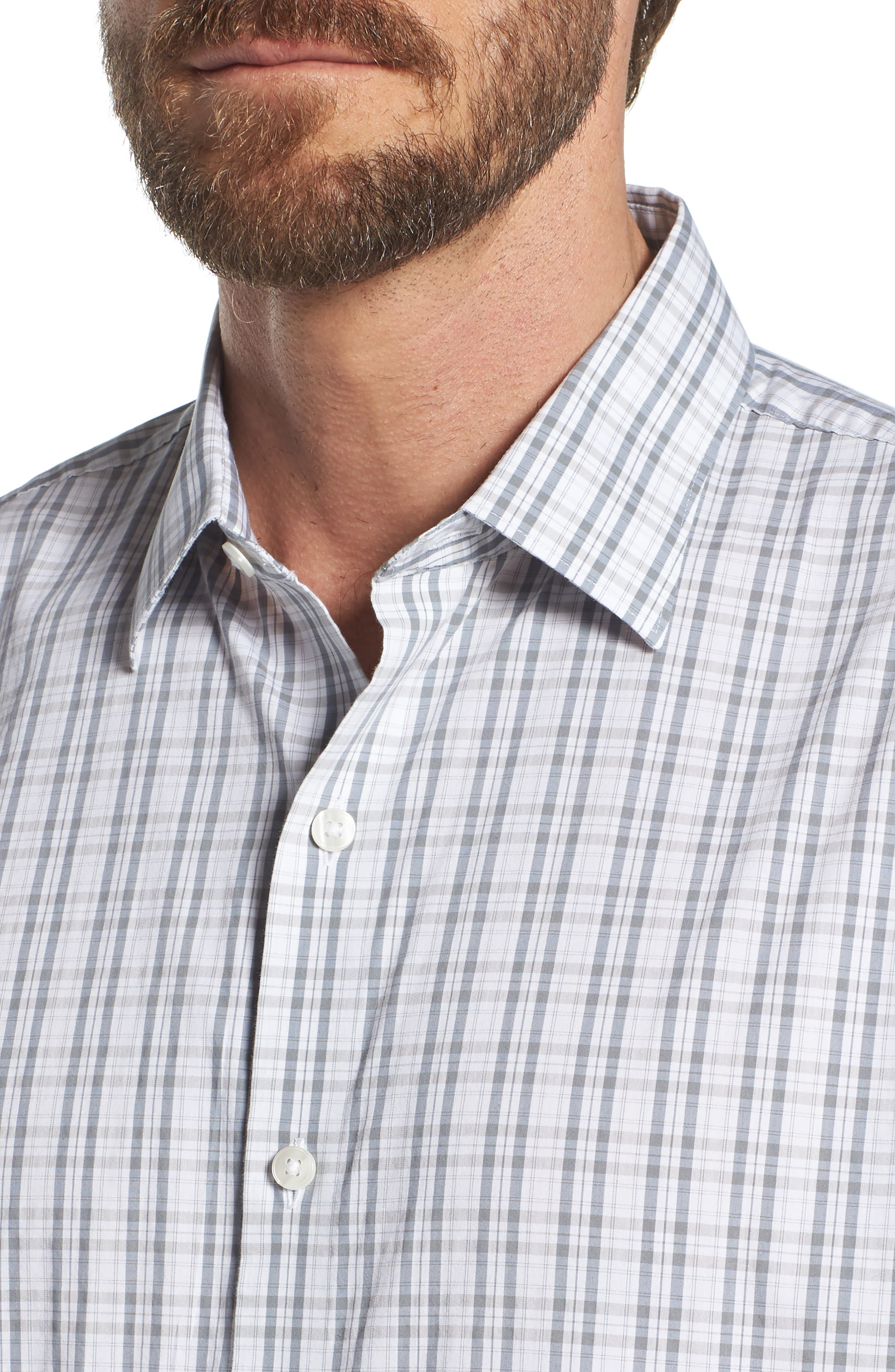 Unbutton Down Slim Fit Plaid Sport Shirt,                             Alternate thumbnail 4, color,                             100