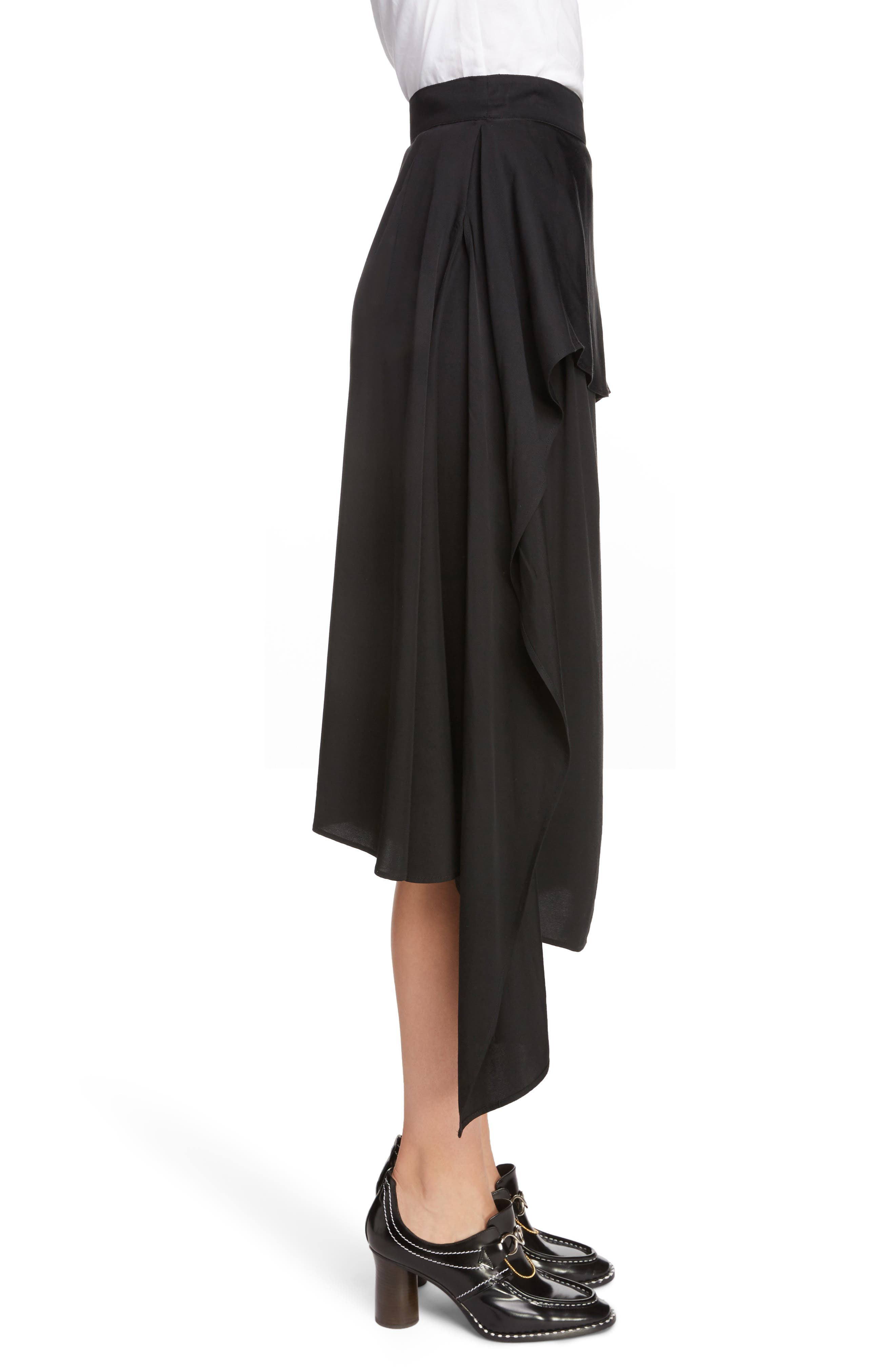 JW ANDERSON,                             Draped Side Asymmetrical Skirt,                             Alternate thumbnail 3, color,                             BLACK