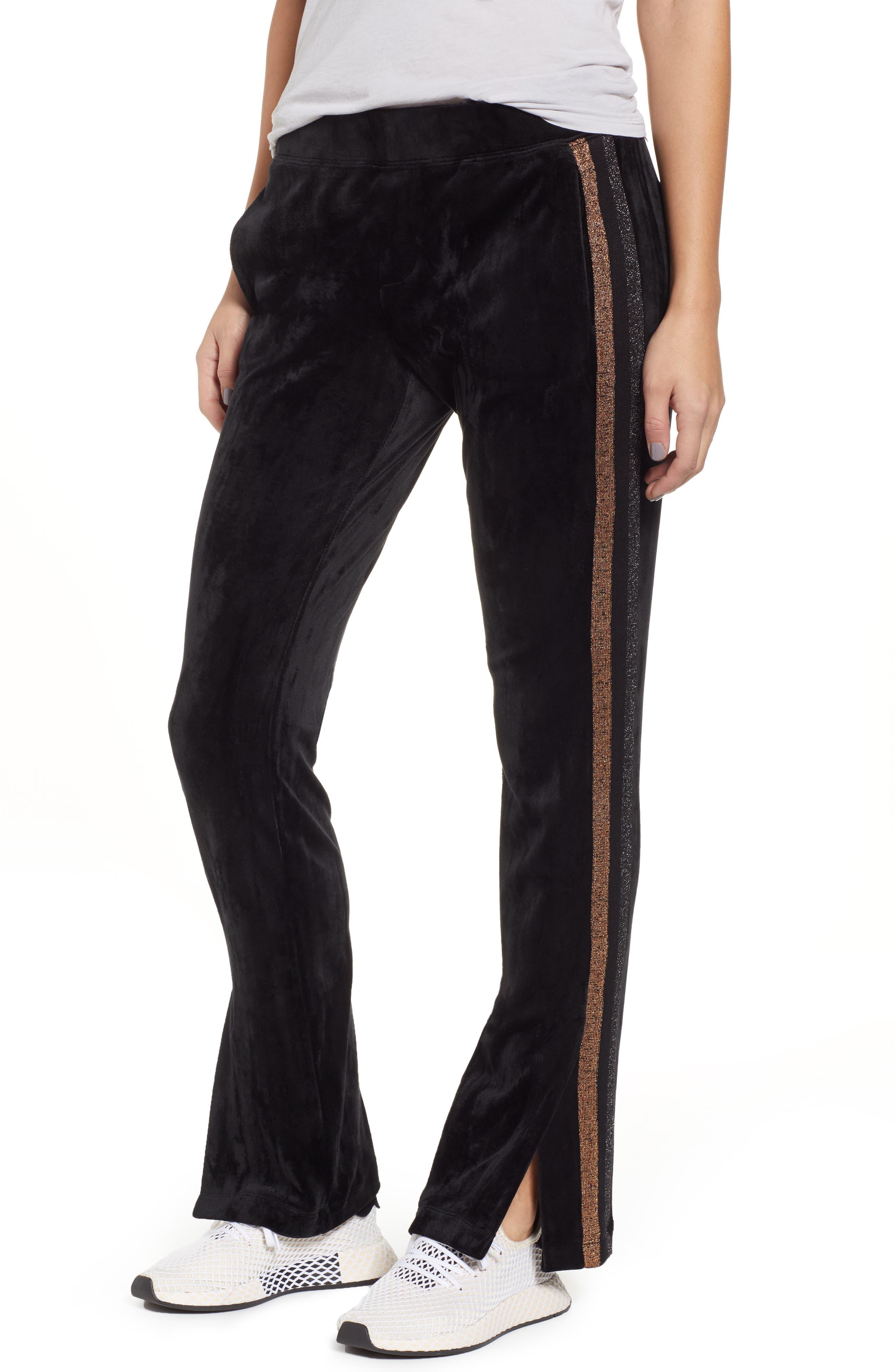 Shimmer Stripe Track Pants,                             Main thumbnail 1, color,                             001