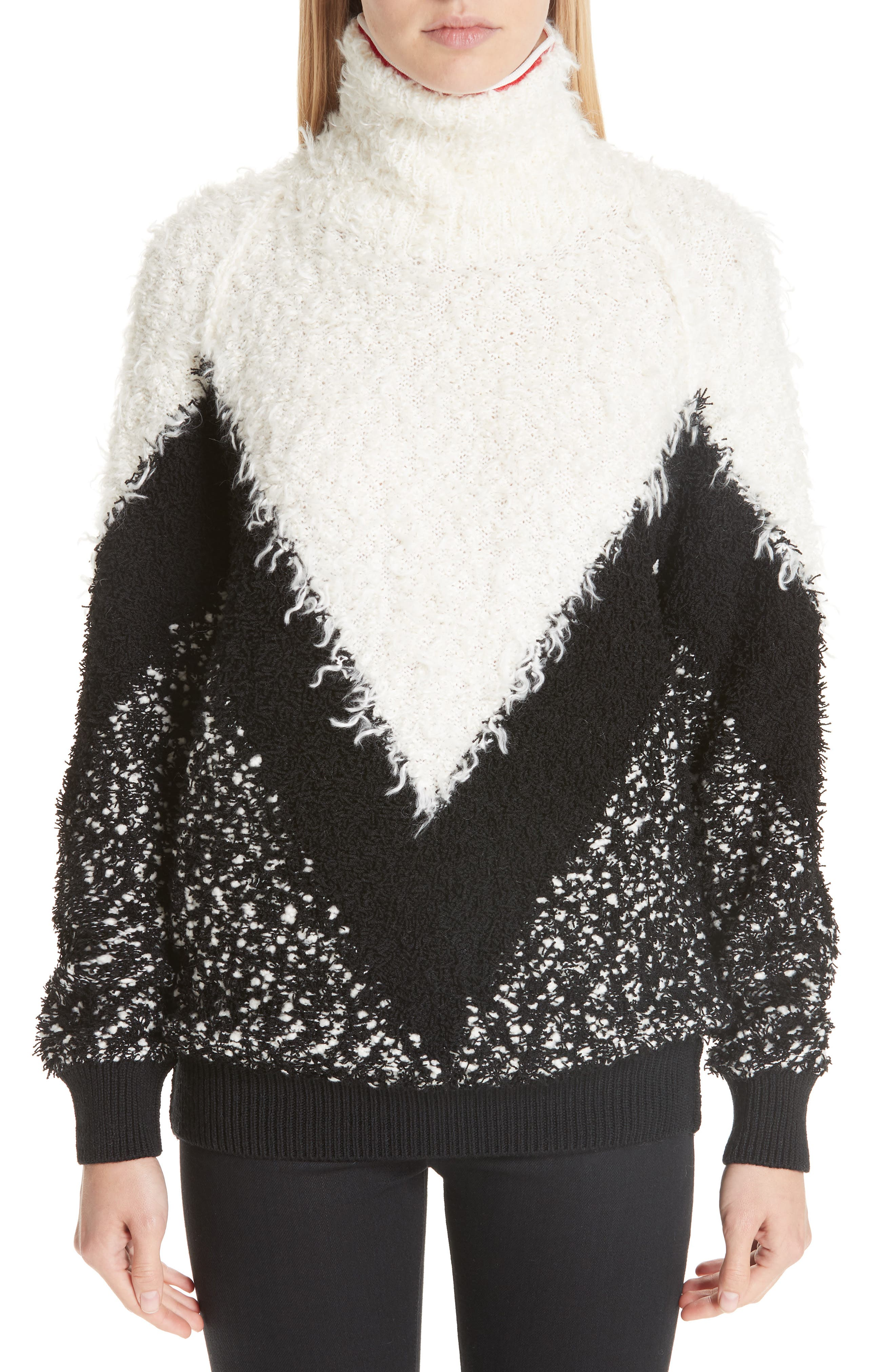 Intarsia Chevron Sweater,                             Main thumbnail 1, color,                             BLACK/ GREY/ WHITE