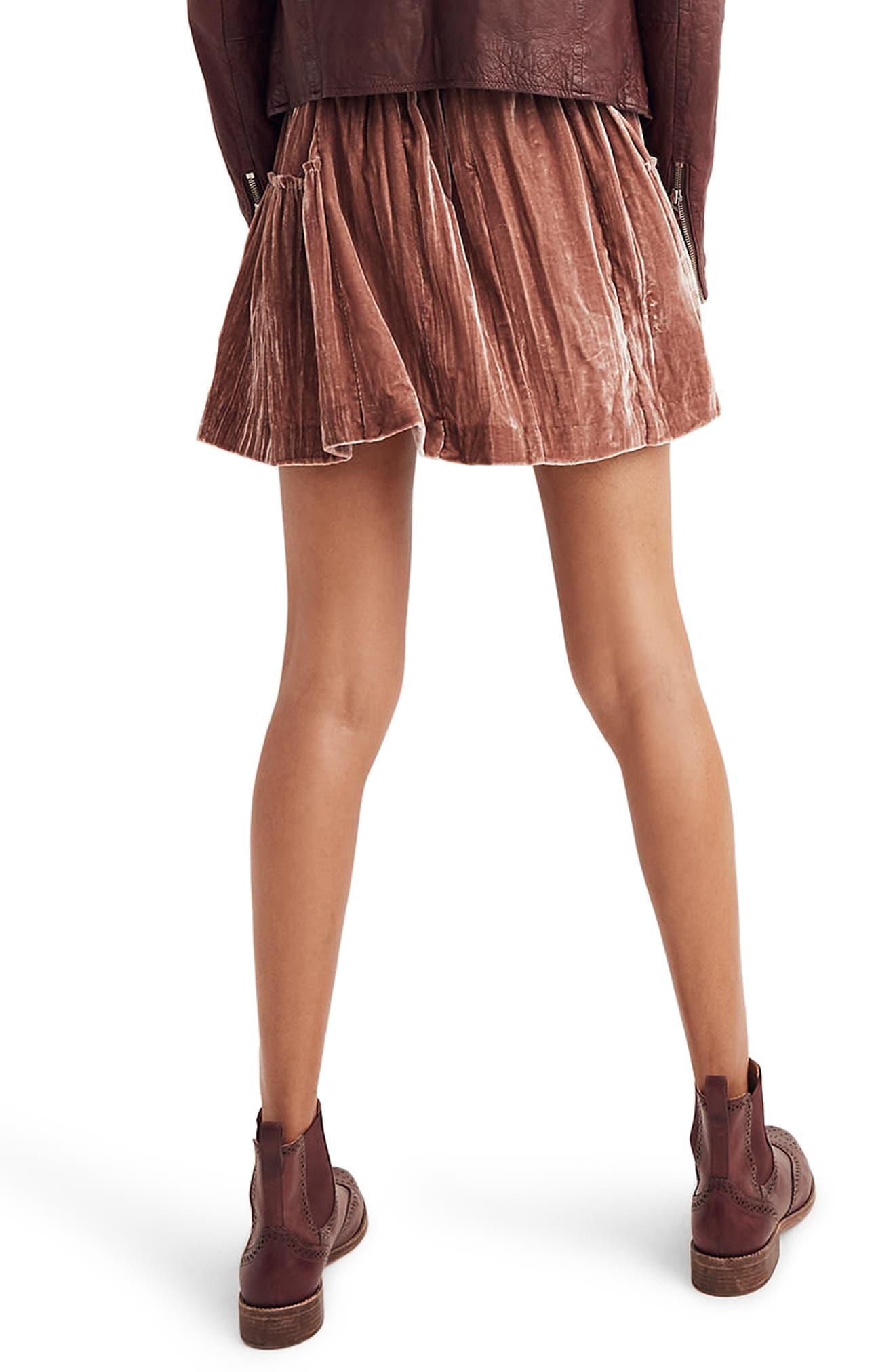 Crushed Velvet Miniskirt,                             Alternate thumbnail 2, color,                             650